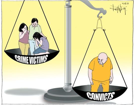 Sunday cartoon on crime victims' rights