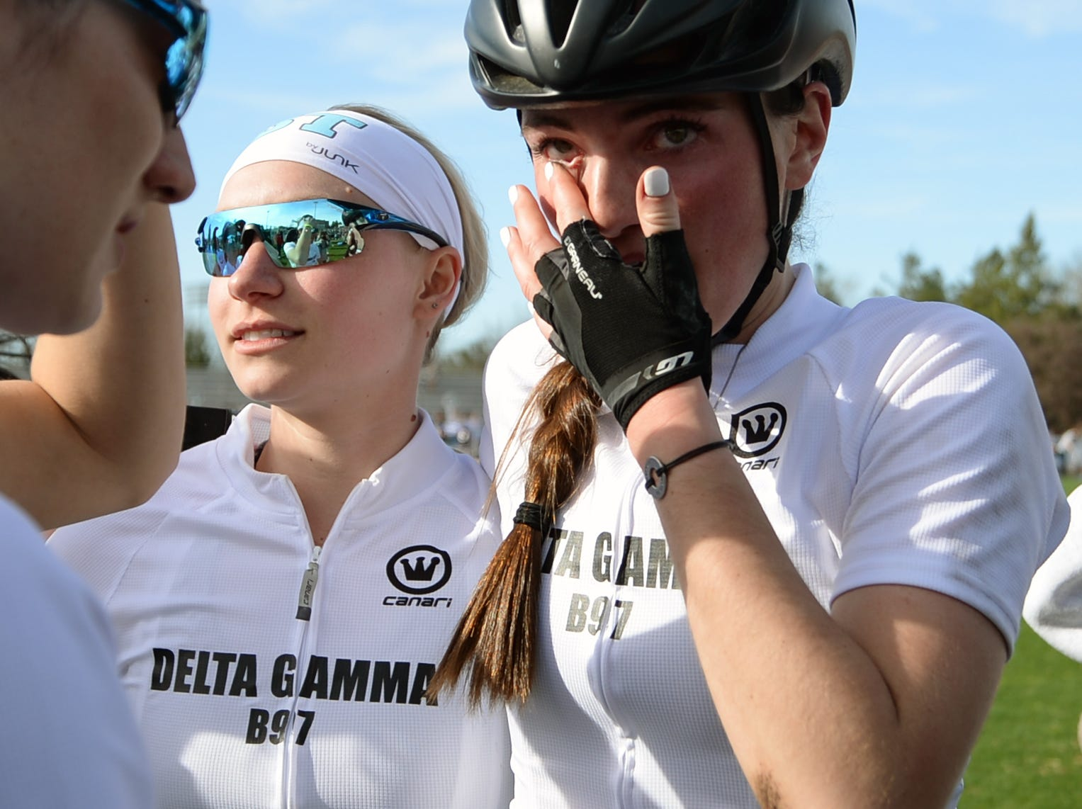Delta Gamma cries after failing to win the women's Little 500 at Bill Armstrong Stadium in Bloomington, Ind., on Friday, April 12, 2019.