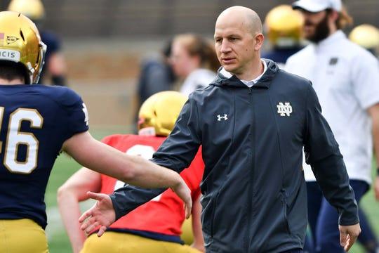 FILE -- Notre Dame defensive coordinator Clark Lea