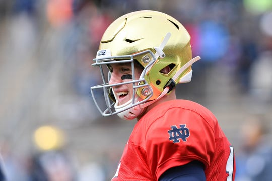 Apr 13, 2019; Notre Dame, IN, USA; Notre Dame Fighting Irish quarterback Phil Jurkovec (15) warms up before the Blue-Gold Game at Notre Dame Stadium. Mandatory Credit: Matt Cashore-USA TODAY Sports