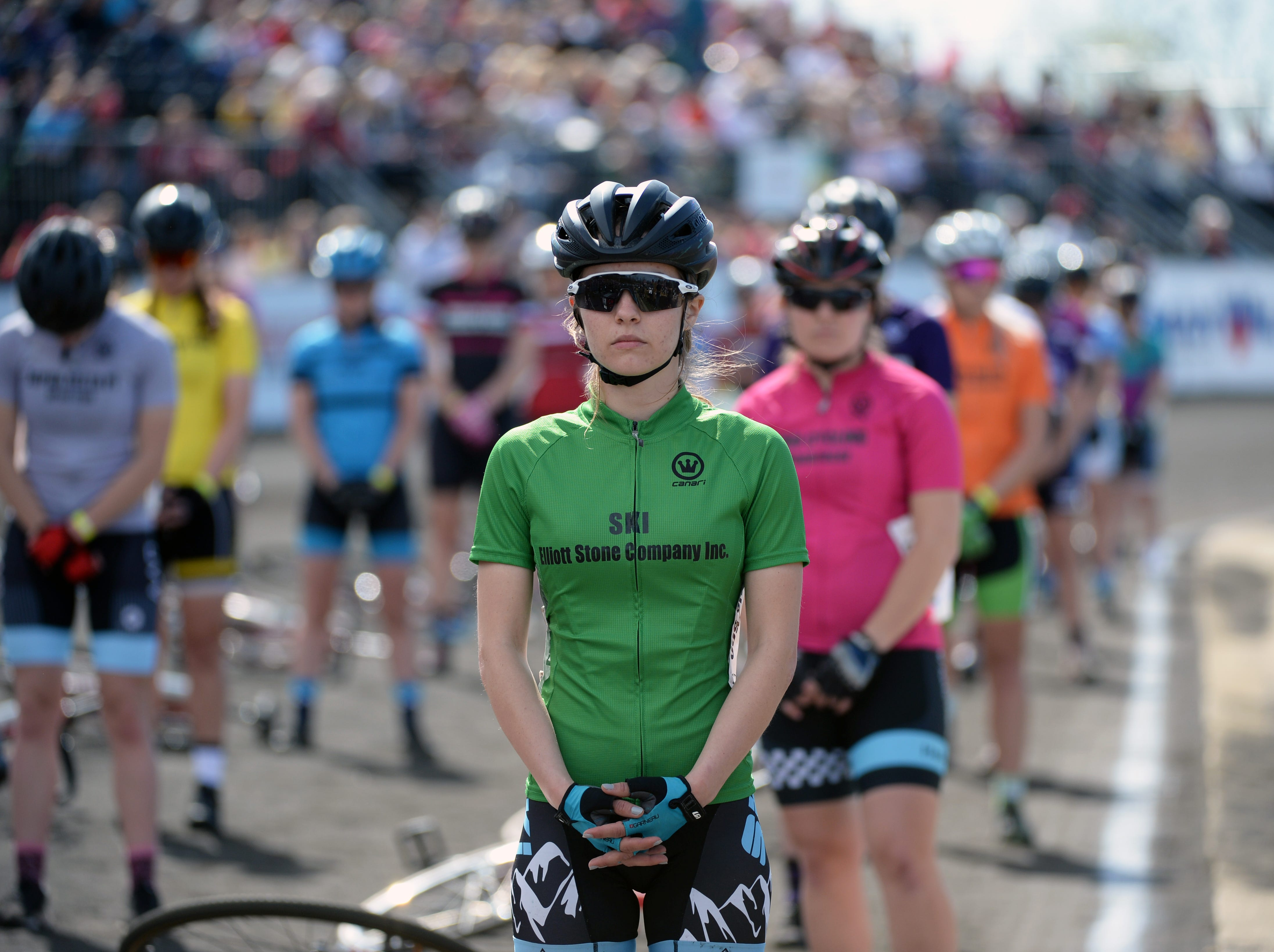 A Ski rider waits for the start of the women's Little 500 at Bill Armstrong Stadium in Bloomington, Ind., on Friday, April 12, 2019.