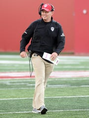 Indiana Hoosiers head coach Tom Allen talks to the defense during the Cream-Crimson spring game at Memorial Stadium in Bloomington, Ind., on Friday, April 12, 2019.