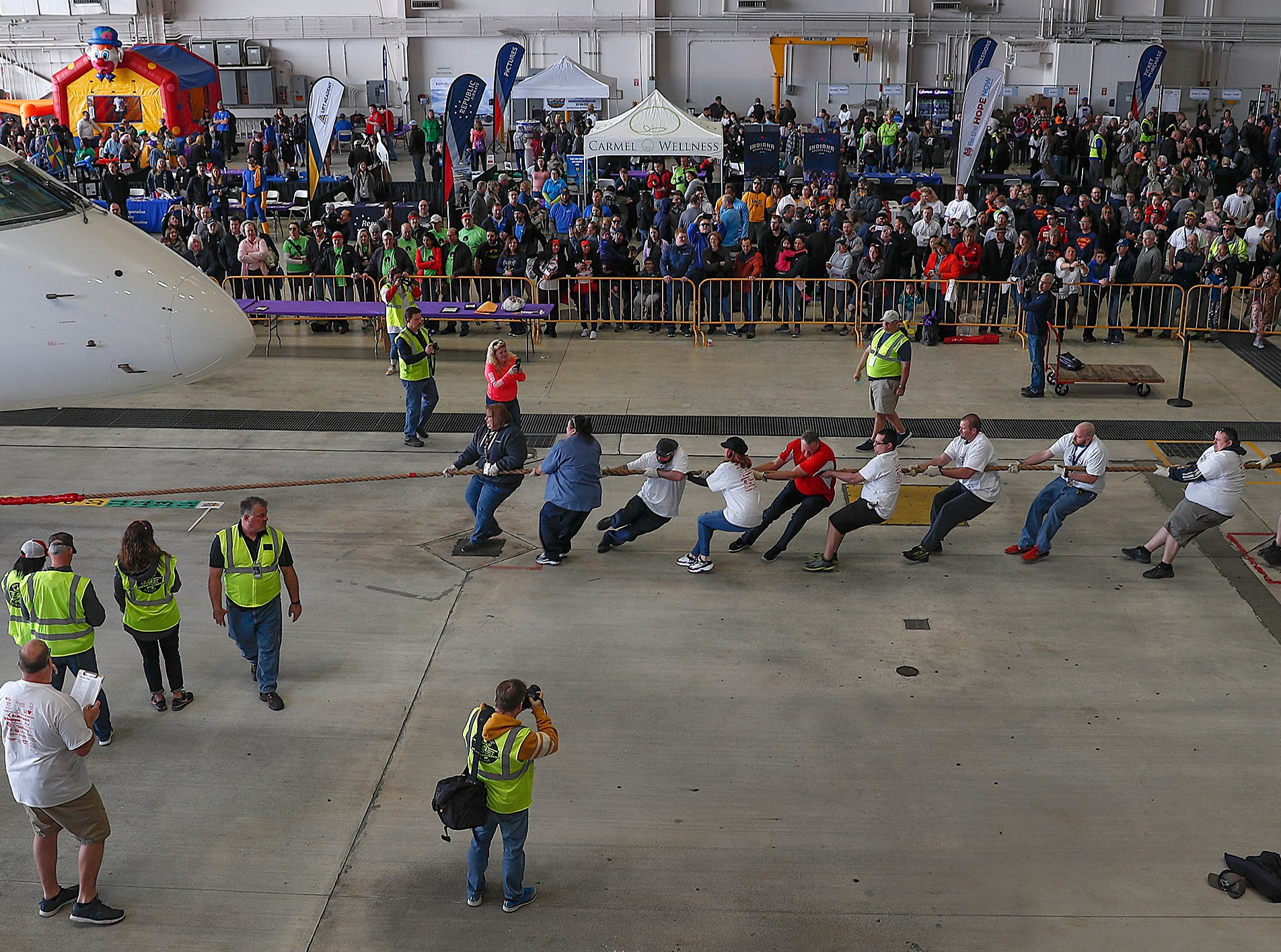 Team AAR during the 9th Annual Republic Airways Plane Pull at the Republic Airways Hanger at the Indianapolis International Airport on Saturday, April 13, 2019. The event benefits Indiana Children's Wish Fund, Peyton Manning Children's Hospital, Riley Children's Foundation and A Kid Again. All teams will pull an Embraer 170/175 aircraft 15 feet.
