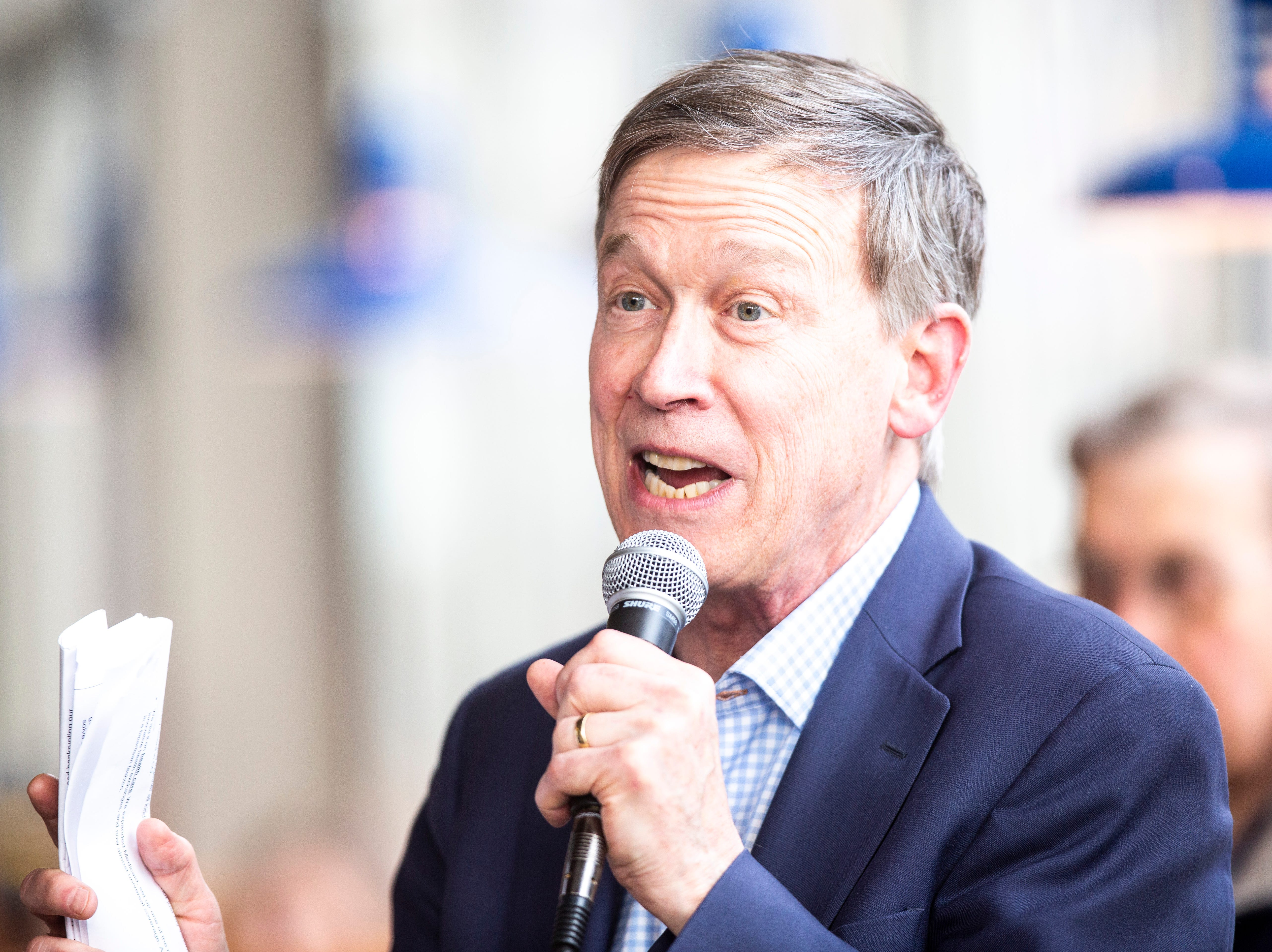 Democratic presidential candidate and former Colorado Gov. John Hickenlooper speaks during an event on Friday, April 12, 2019, at Backpocket Brewing in Coralville, Iowa.