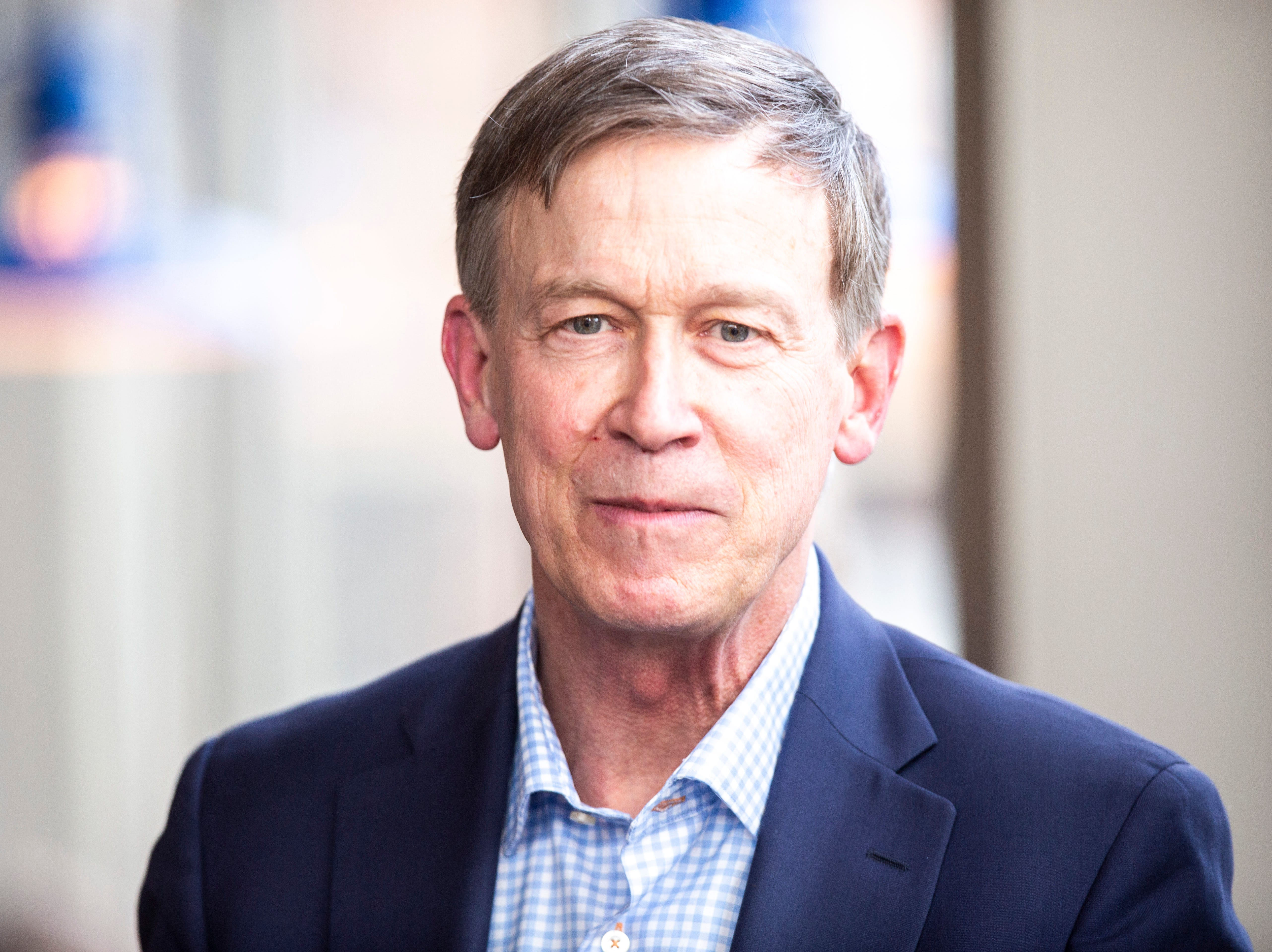 Democratic presidential candidate and former Colorado Gov. John Hickenlooper listens to a question during an event on Friday, April 12, 2019, at Backpocket Brewing in Coralville, Iowa.