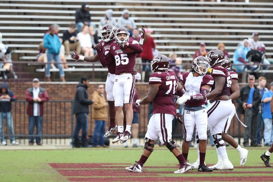 Mississippi State wide receiver Austin Williams (85) celebrates his second touchdown of the day in the Bulldogs' 2019 Maroon and White Game.