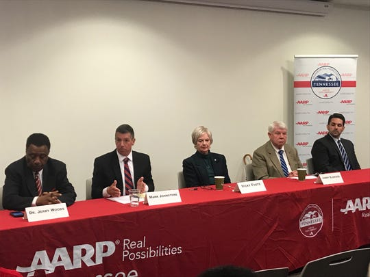 Jackson mayoral candidates Jerry Woods, Mark Johnstone, Vicky Foote, Jimmy Eldridge and Scott Conger attended an AARP-sponsored mayoral forum on issues affecting senior citizens at the LIFT in Jackson on Saturday, April 13.