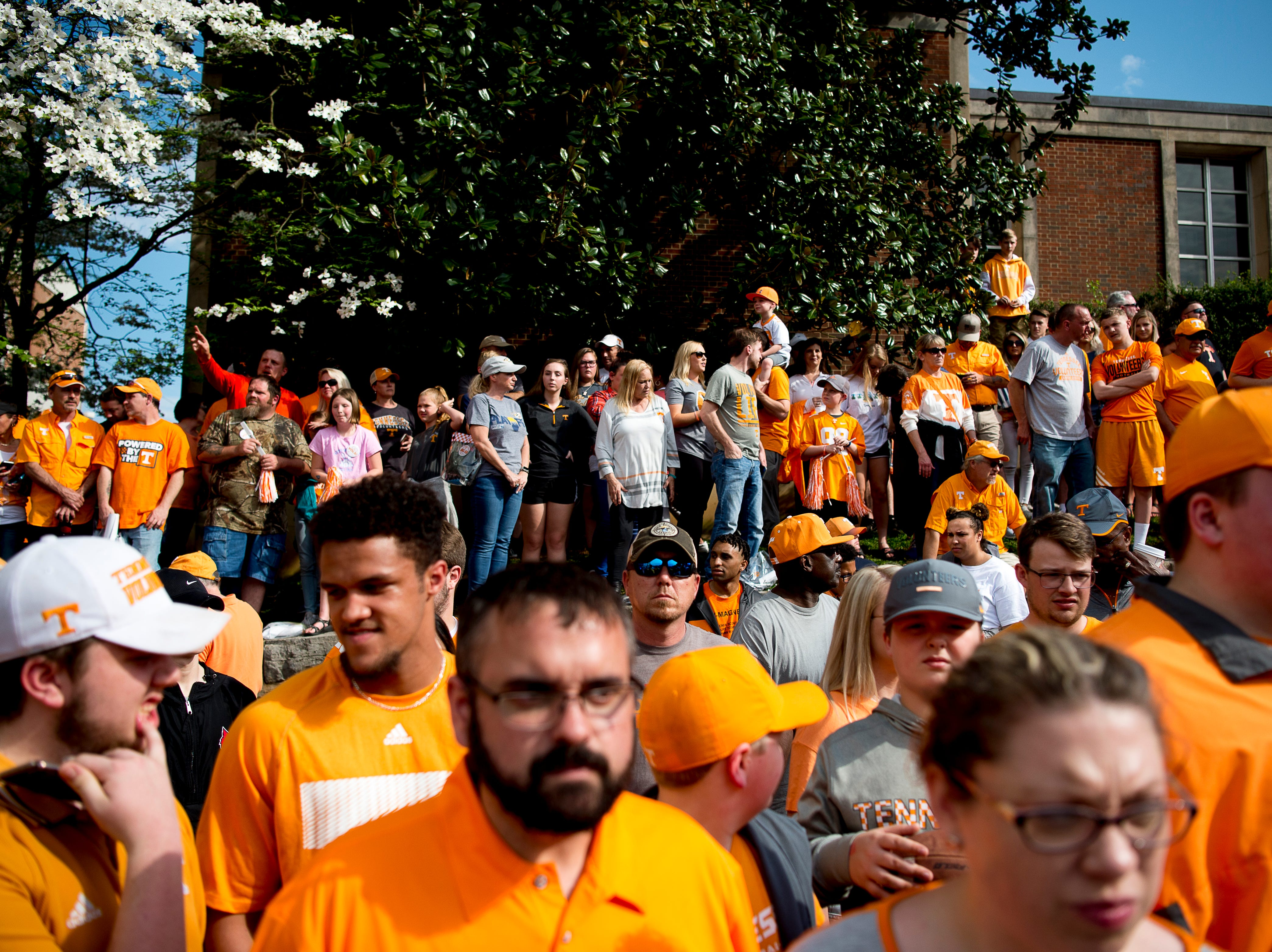 Fans gather for the Vol Walk at the Tennessee Spring Game at Neyland Stadium in Knoxville, Tennessee on Saturday, April 13, 2019.