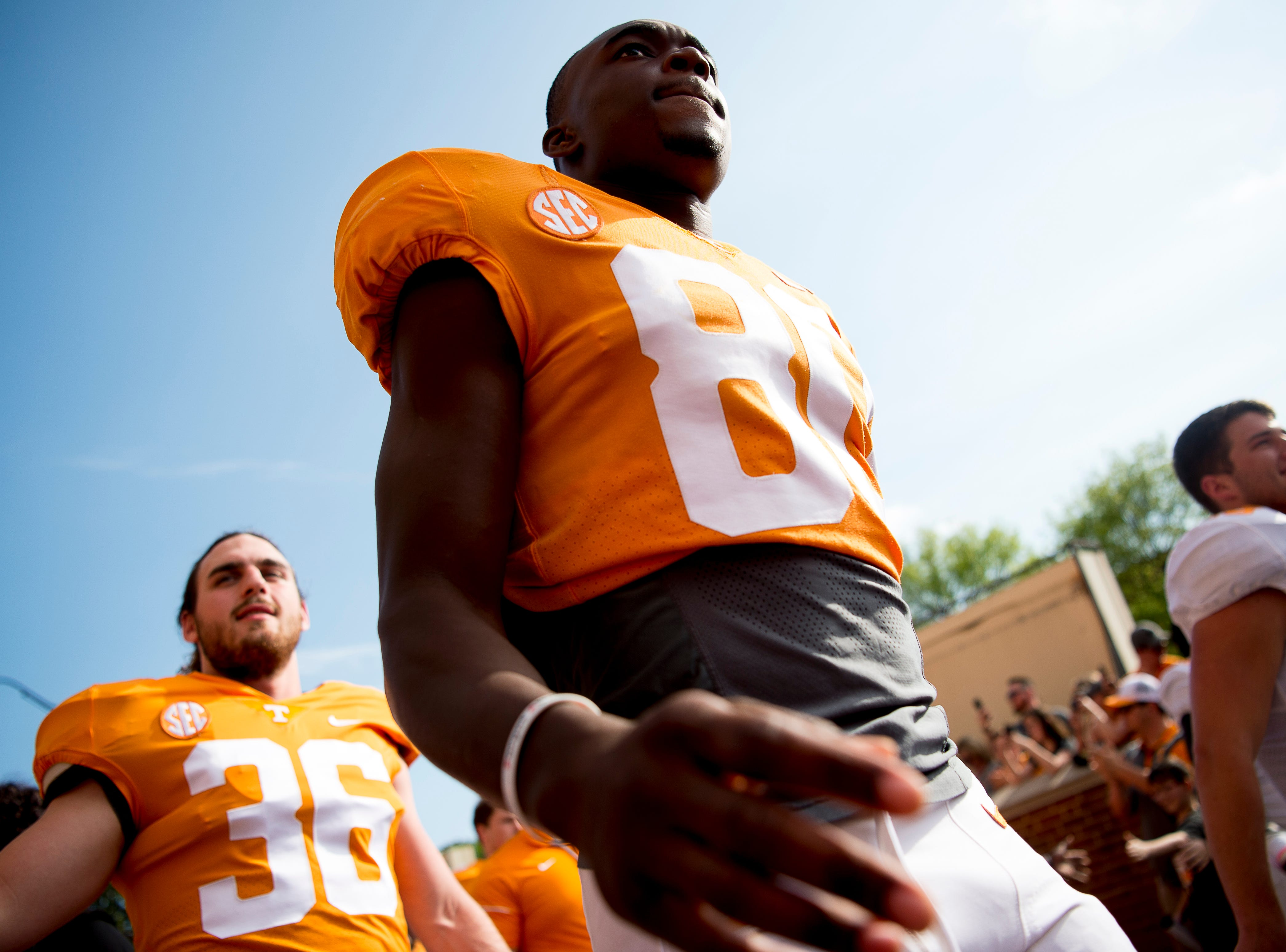 Tennessee wide receiver Ramel Keyton (80) during the Vol Walk at the Tennessee Spring Game at Neyland Stadium in Knoxville, Tennessee on Saturday, April 13, 2019.
