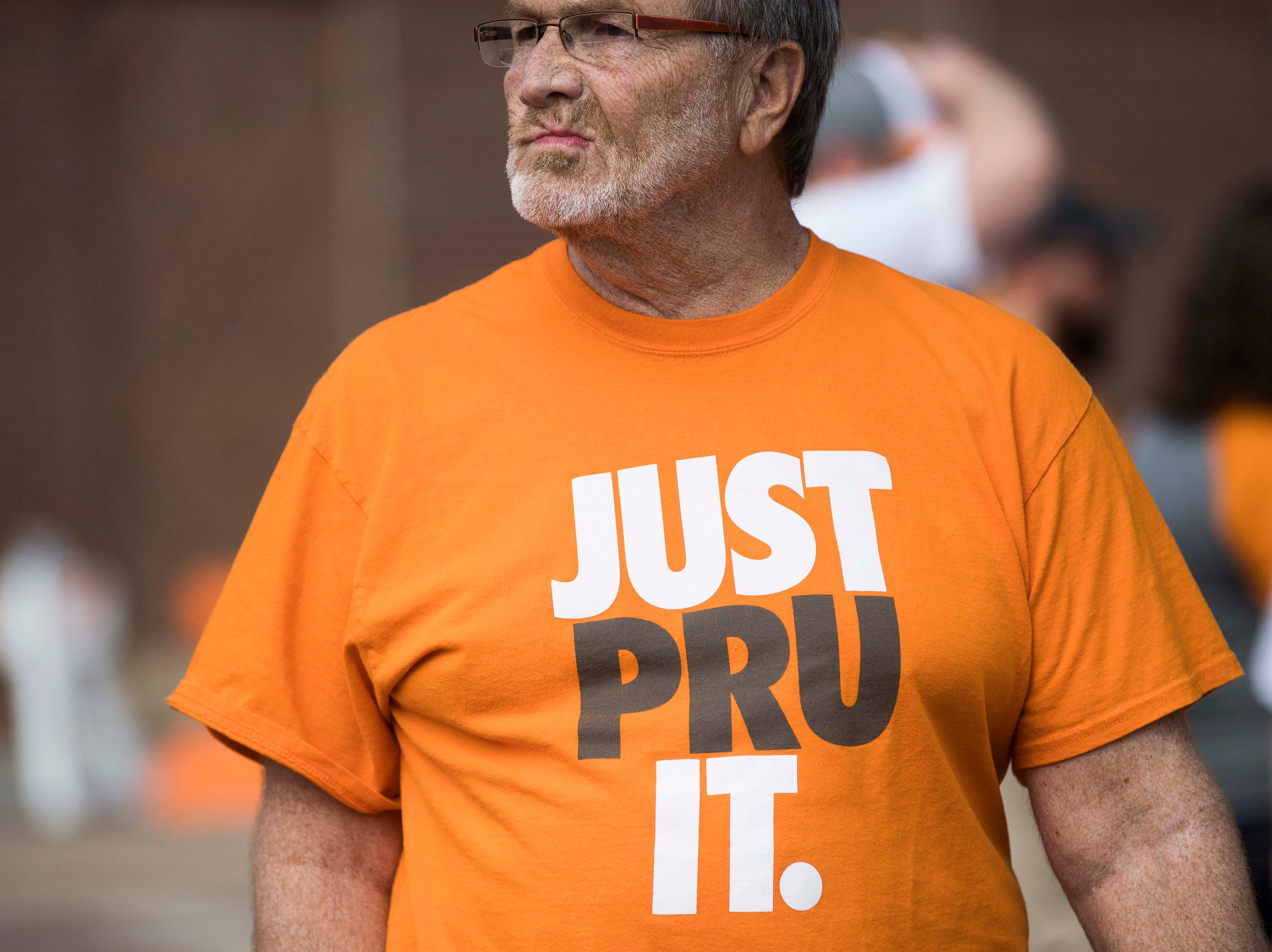 Rick Snyder of Knoxville waits for the Vols spring game to begin outside Neyland Stadium in Knoxville Saturday, April 13, 2019.