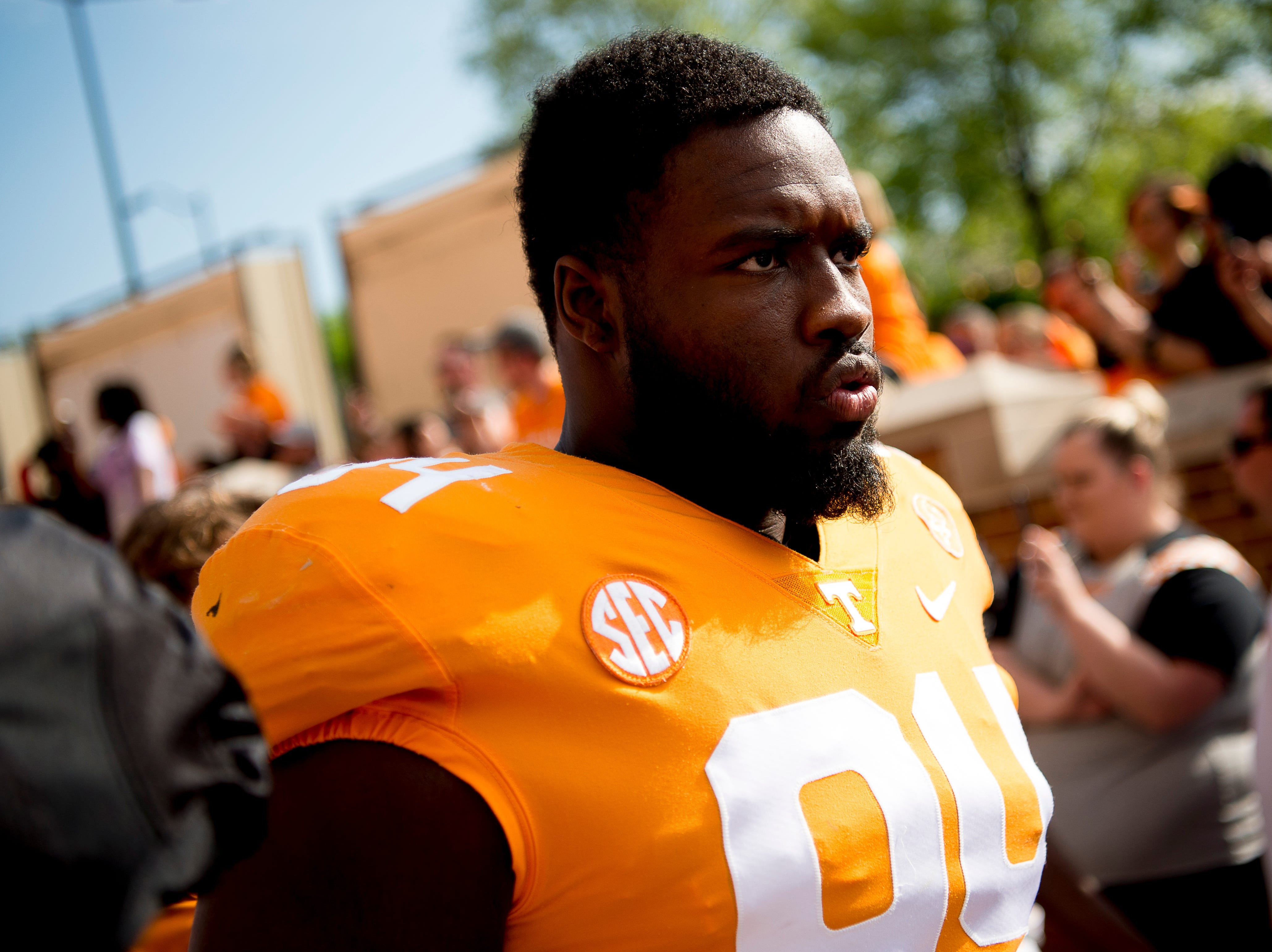 Tennessee defensive lineman Matthew Butler (94) during the Vol Walk at the Tennessee Spring Game at Neyland Stadium in Knoxville, Tennessee on Saturday, April 13, 2019.