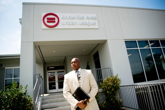 Antonio Arnold, President of Smartec, a construction and project management company based in Knoxville, poses for a photo outside of the Knoxville Urban League building he helped construct on East 5th Ave in Knoxville, Tennessee on Friday, April 12, 2019.