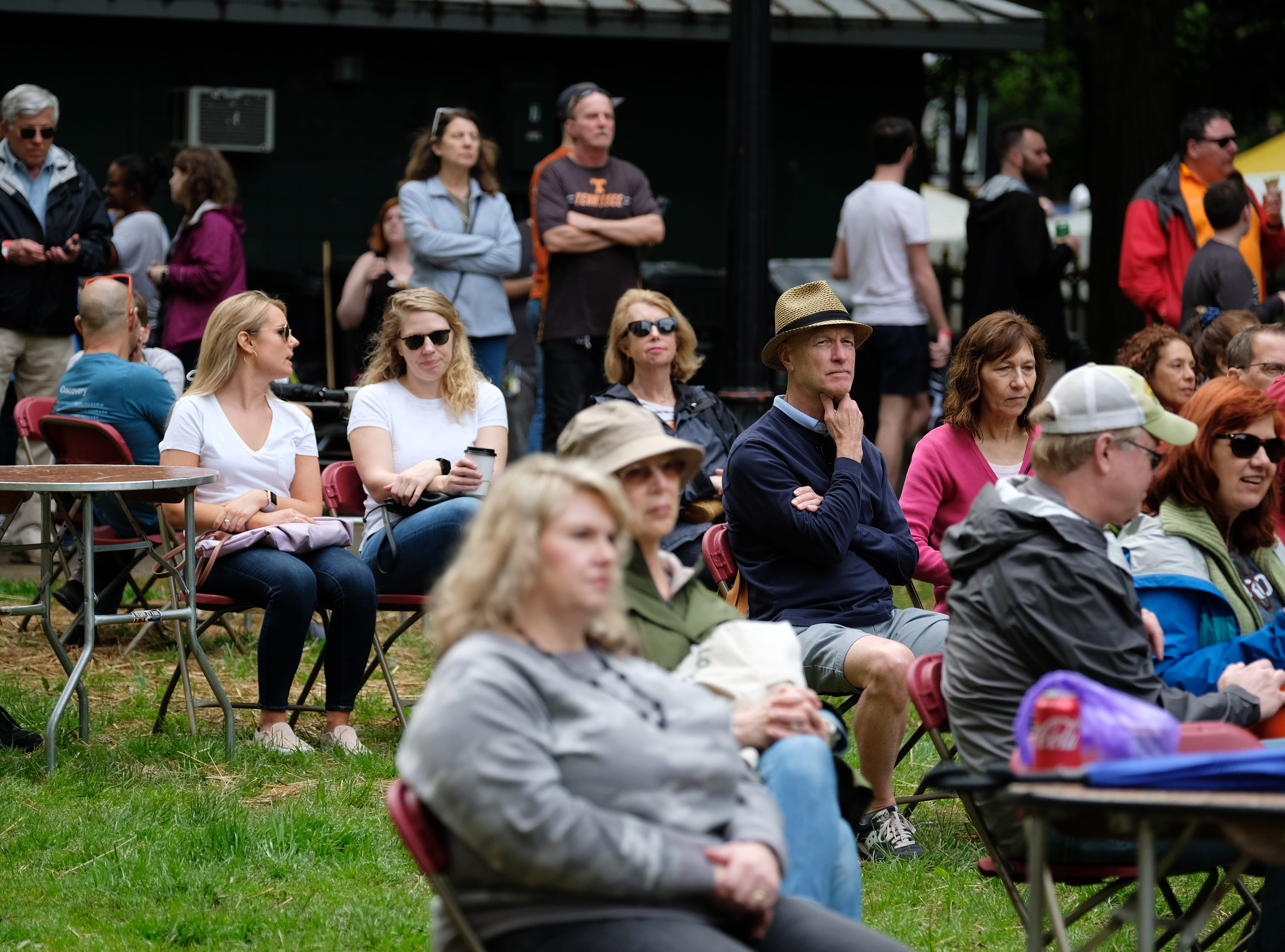 Attendees gather as the Ensemble Swing Time performs during the Rossini Festival in Knoxville on Saturday, April 13, 2019. (Shawn Millsaps/Special to News Sentinel)