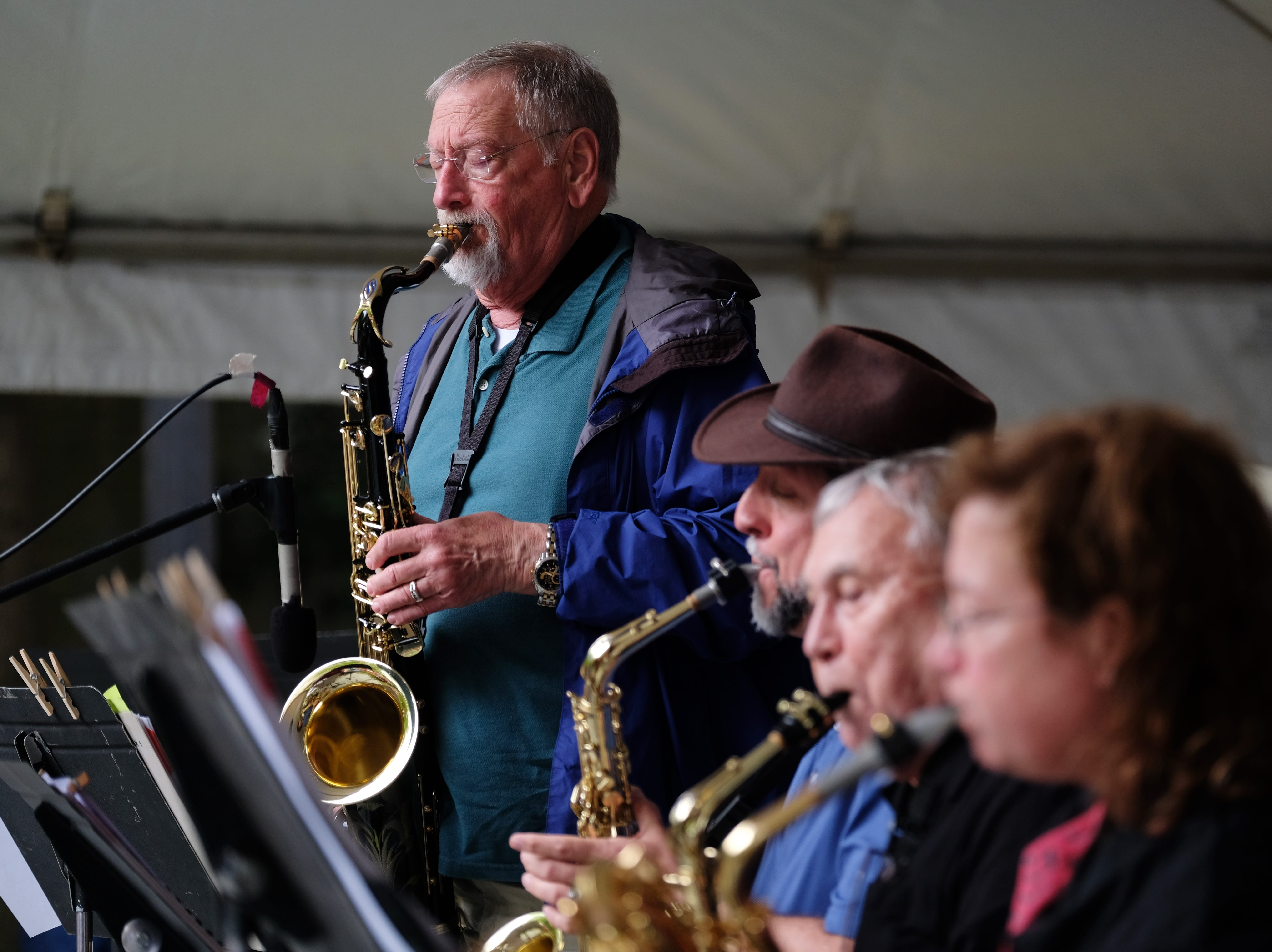 Saxophonist Mike Palmier of the Ensemble Swing Time plays a solo during the Rossini Festival in Knoxville on Saturday, April 13, 2019. 