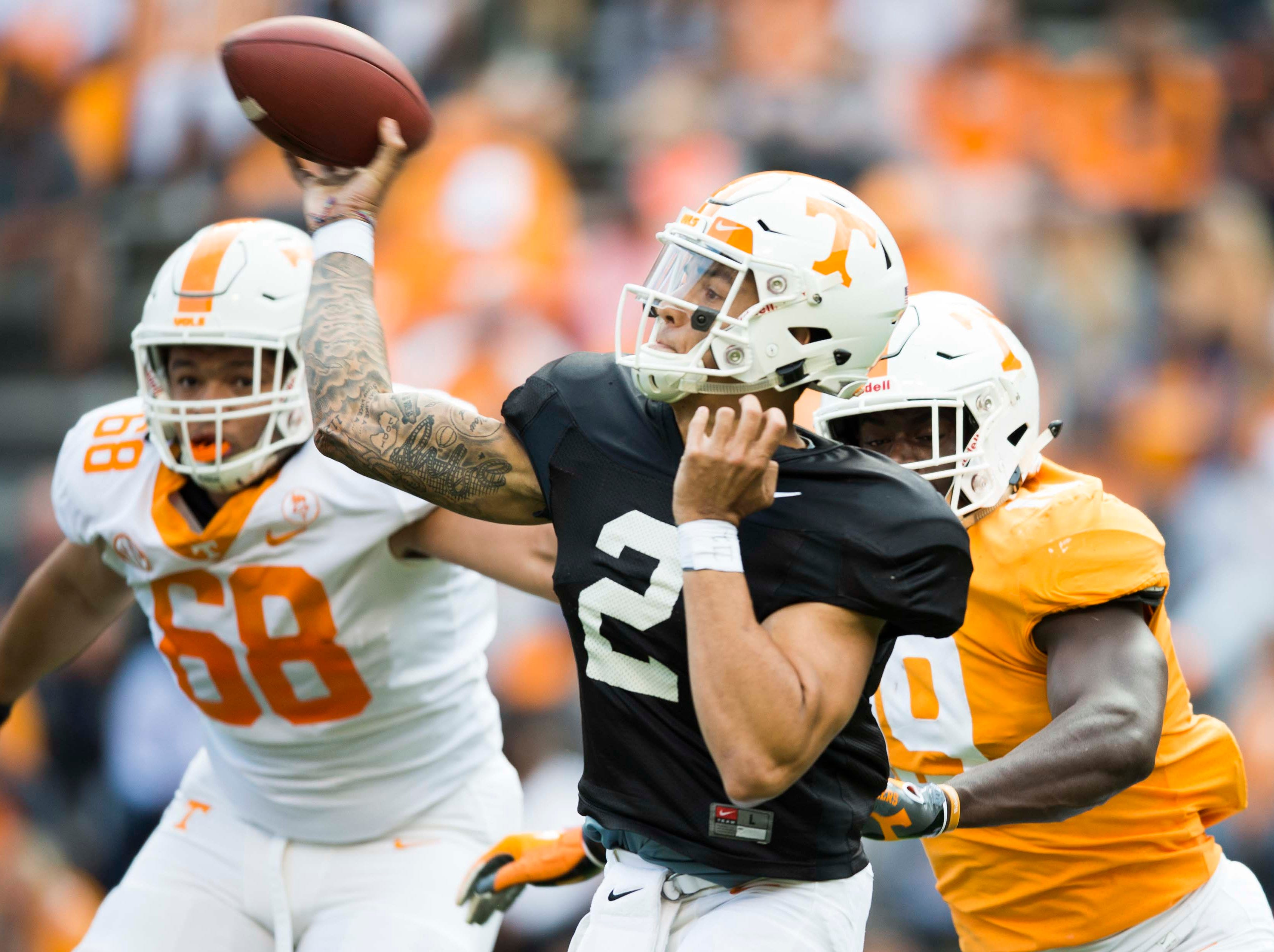 Tennessee quarterback Jarrett Guarantano (2) throws the ball during the Vols spring game in Neyland Stadium in Knoxville Saturday, April 13, 2019.