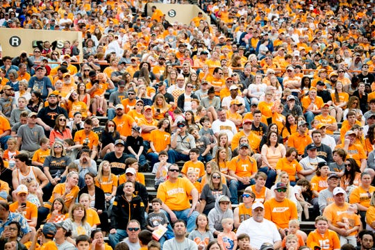 Fans watch Tennessee's spring game at Neyland Stadium in Knoxville, Tennessee on Saturday, April 13, 2019.