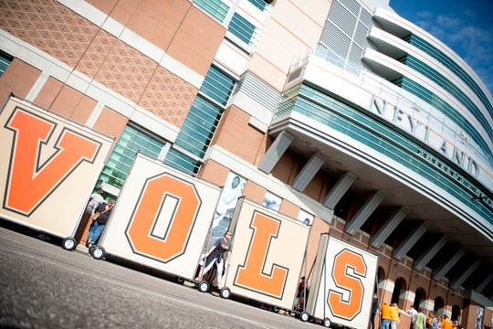 "The old ""Vols"" sign that once stood atop Neyland Stadium are on display at the Tennessee Spring Game at Neyland Stadium in Knoxville, Tennessee on Saturday, April 13, 2019."
