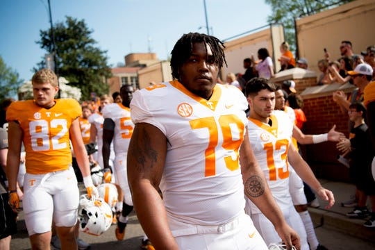 Tennessee defensive lineman Kurott Garland (79) during the Vol Walk at the Tennessee Spring Game at Neyland Stadium in Knoxville, Tennessee on Saturday, April 13, 2019.
