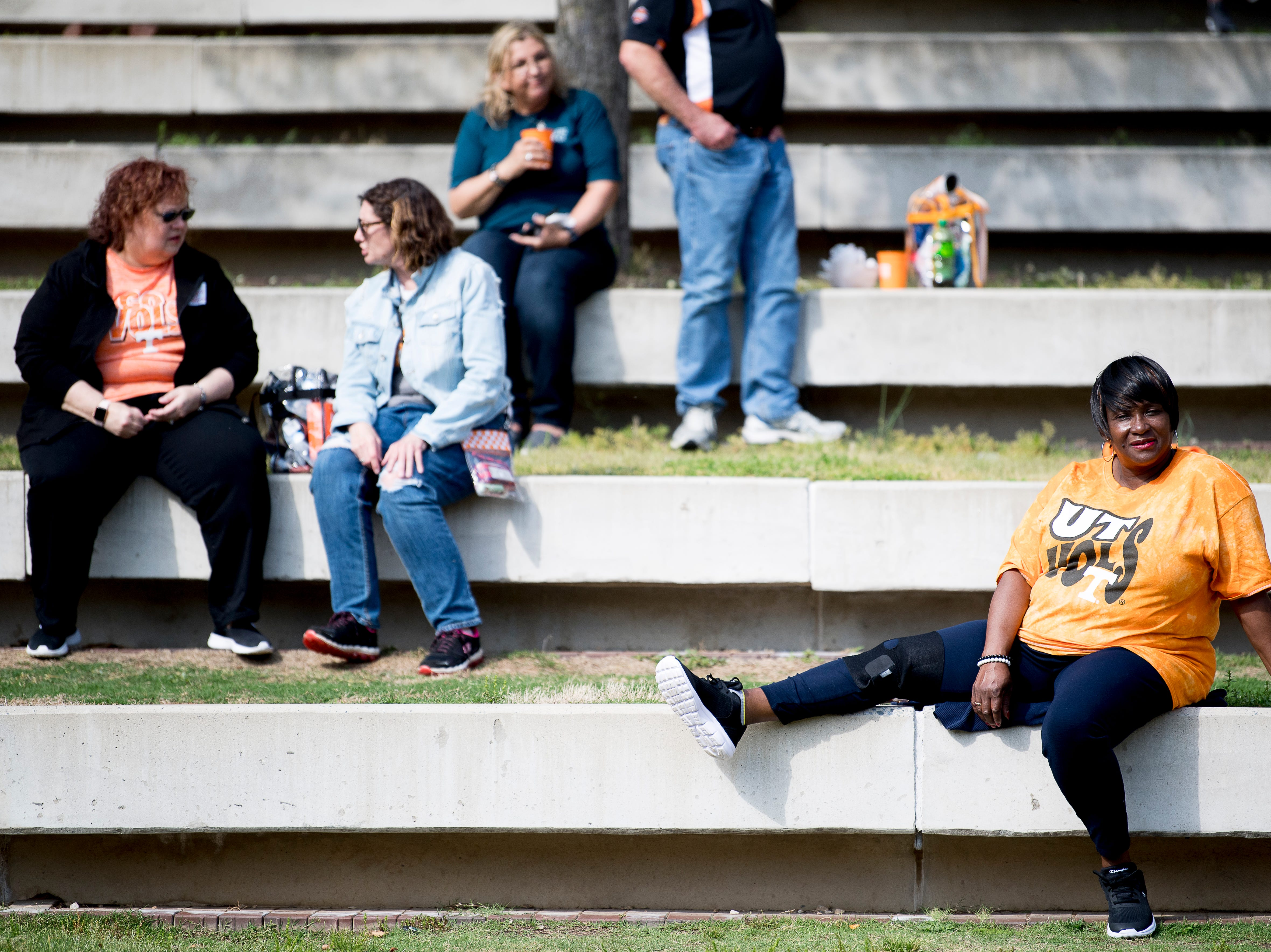 Fans sit in the shade at the Tennessee Spring Game at Neyland Stadium in Knoxville, Tennessee on Saturday, April 13, 2019.