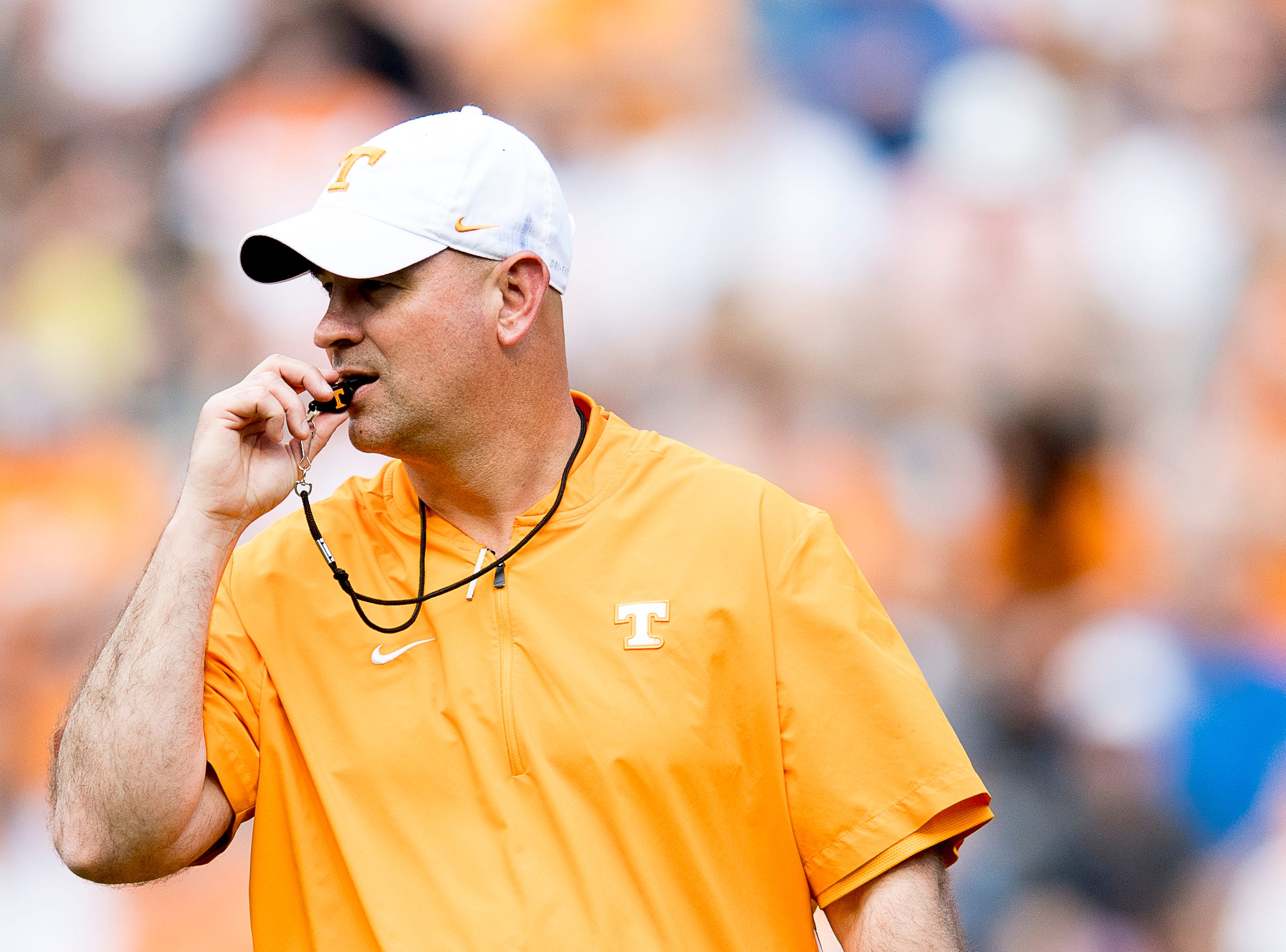 Tennessee Head Coach Jeremy Pruitt walks down the field during the Tennessee Spring Game at Neyland Stadium in Knoxville, Tennessee on Saturday, April 13, 2019.