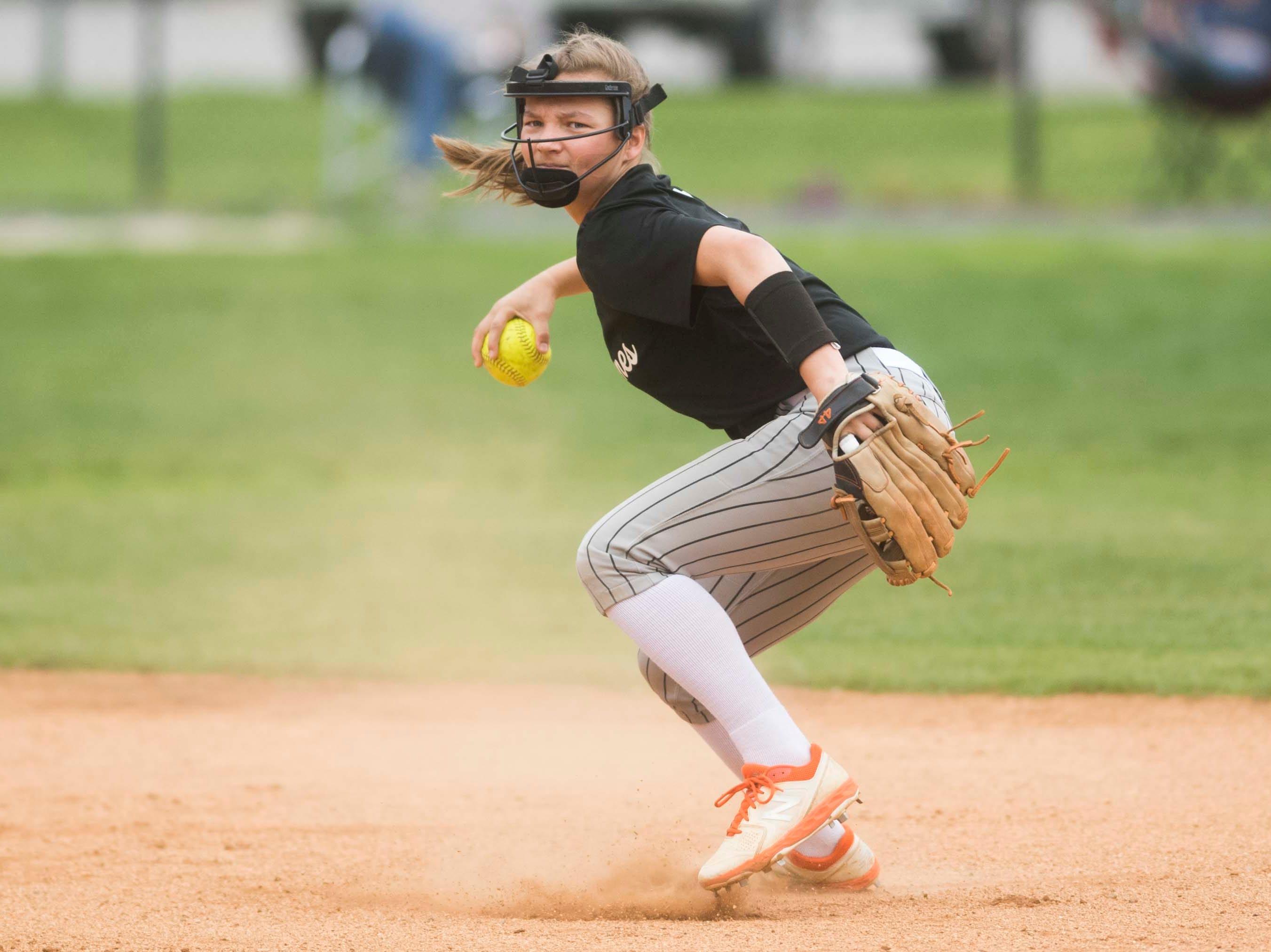 Elizabethton's Maggie Johnson (17) makes a play during a high school softball game between Halls and Elizabethton at Halls Friday, April 12, 2019. Halls defeated Elizabethton.