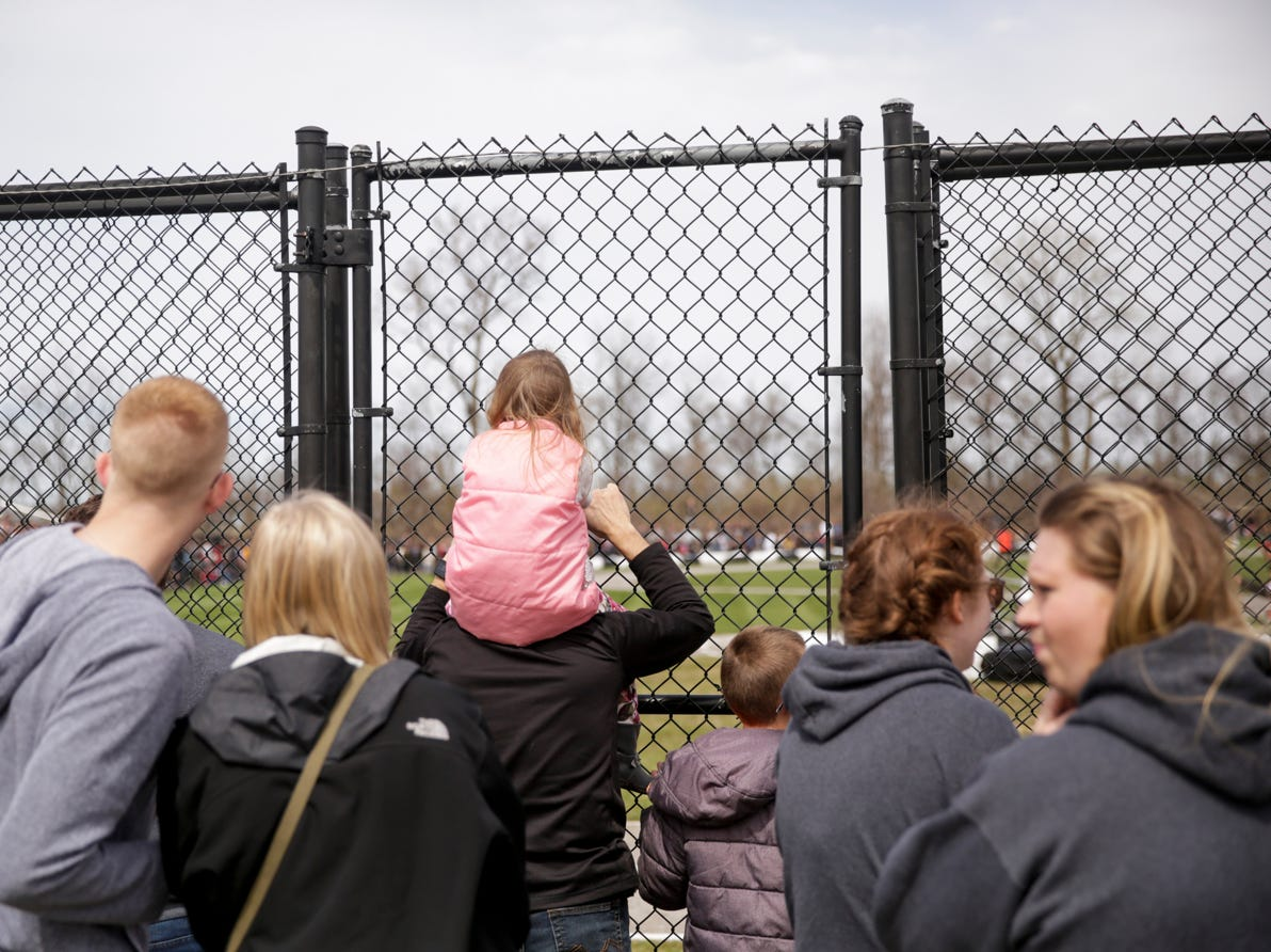 Spectators watch the races during the 62nd Grand Prix, Saturday, April 13, 2019, in West Lafayette.