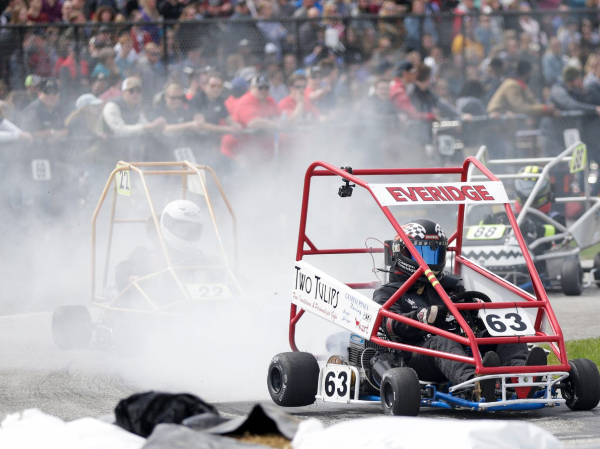 Gemini Pines driver Cassten Everidge (63) blows off smoke during the 62nd Grand Prix, Saturday, April 13, 2019, in West Lafayette.