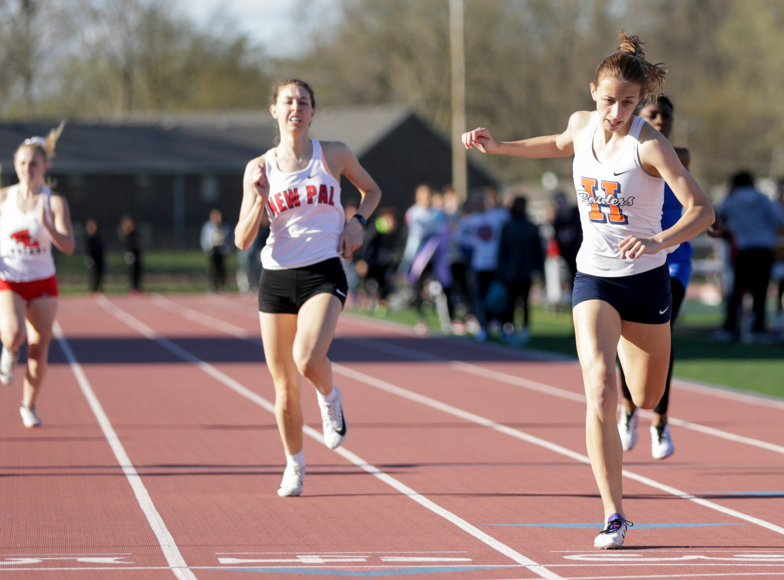 Harrison's Jaylie Lahmeyer competes in the women's 400 meter dash during the 2019 Sprinters Showcase, Friday, April 12, 2019, at Lafayette Jeff High School in Lafayette.