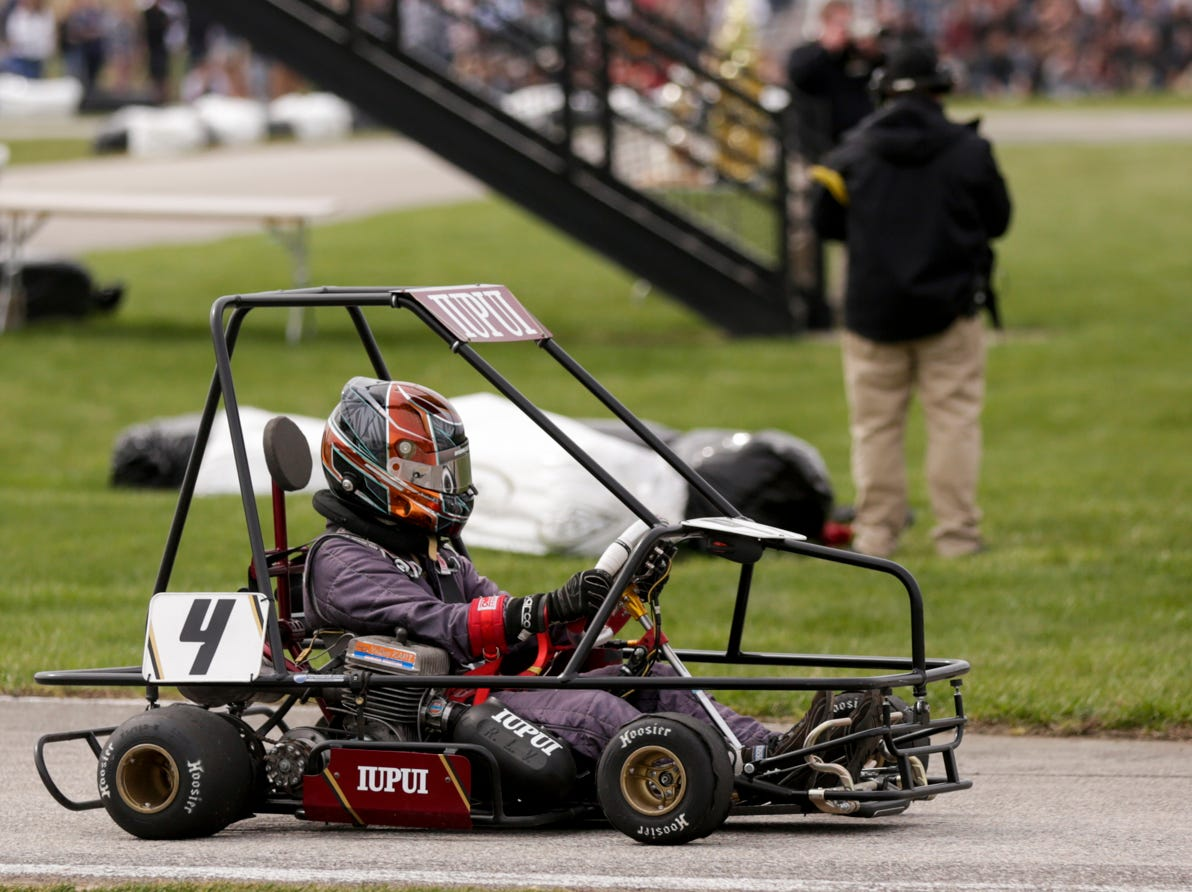 IUPUI Motorsports car 4 driver Brenden Johnson completes a lap during the 62nd Purdue Grand Prix, Saturday, April 13, 2019, in West Lafayette.