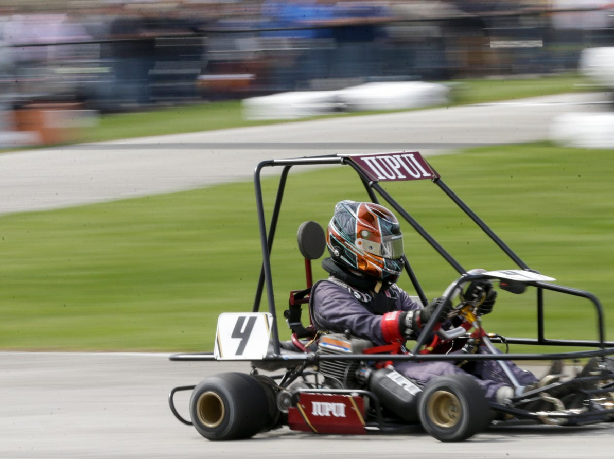 IUPUI Motorsports driver Brenden Johnson (4) takes turn one during the 62nd Grand Prix, Saturday, April 13, 2019, in West Lafayette.
