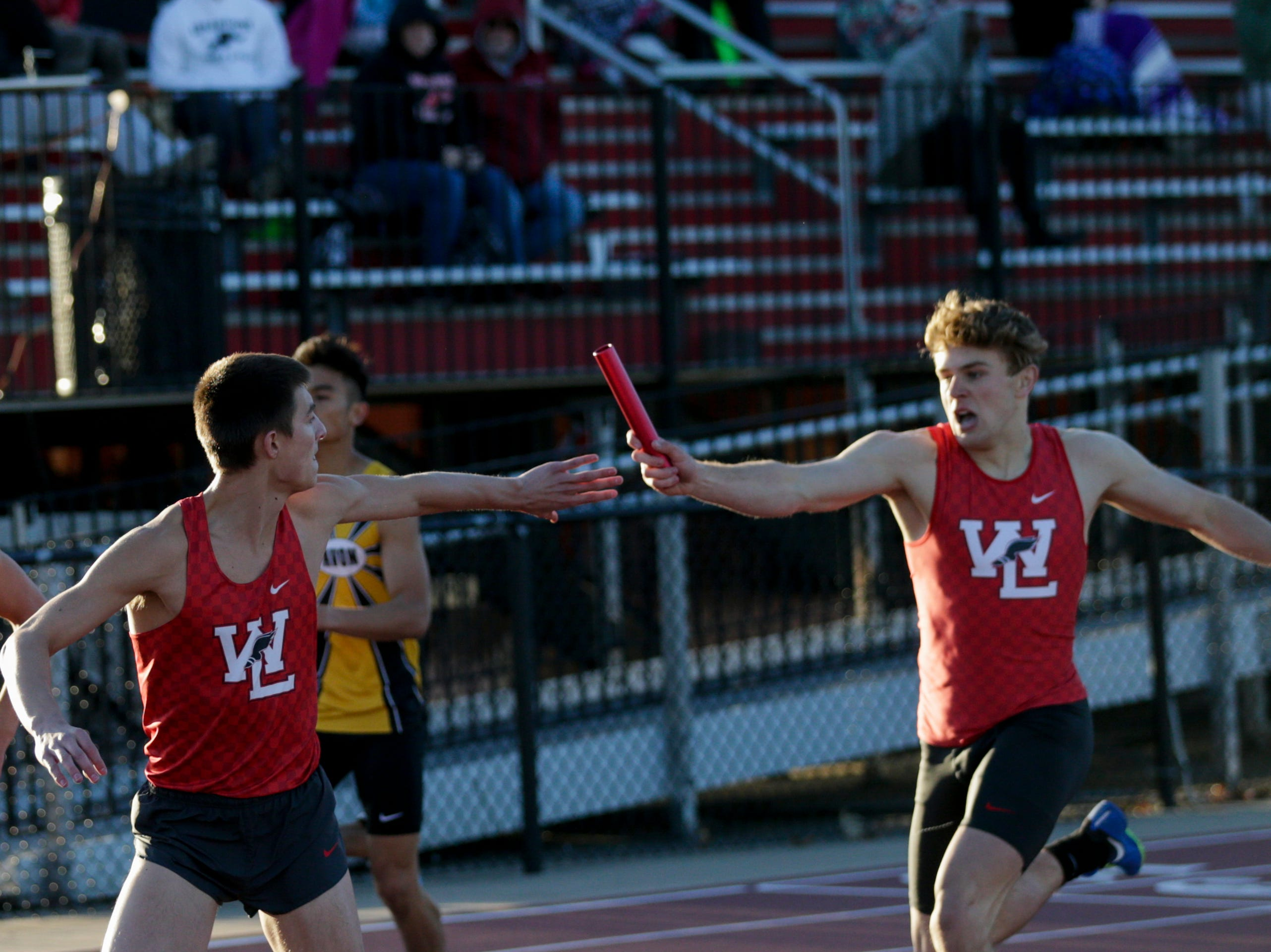 Western Lafayette competes in the men's 4x400 meter relay during the 2019 Sprinters Showcase, Friday, April 12, 2019, at Lafayette Jeff High School in Lafayette.