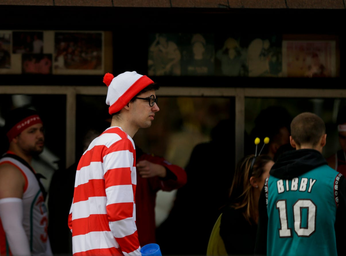 Waldo walks on W. State st. during Breakfast Club, Saturday, April 13, 2019, in West Lafayette.