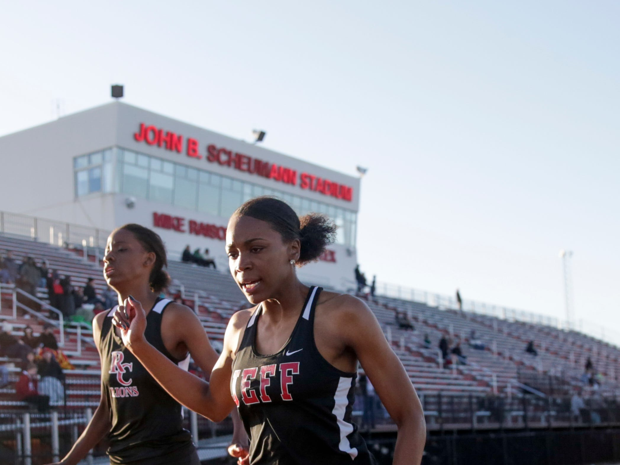 Lafayette Jeff's Kela Haskins crosses the finish line in the women's 200 meter dash during the 2019 Sprinters Showcase, Friday, April 12, 2019, at Lafayette Jeff High School in Lafayette.