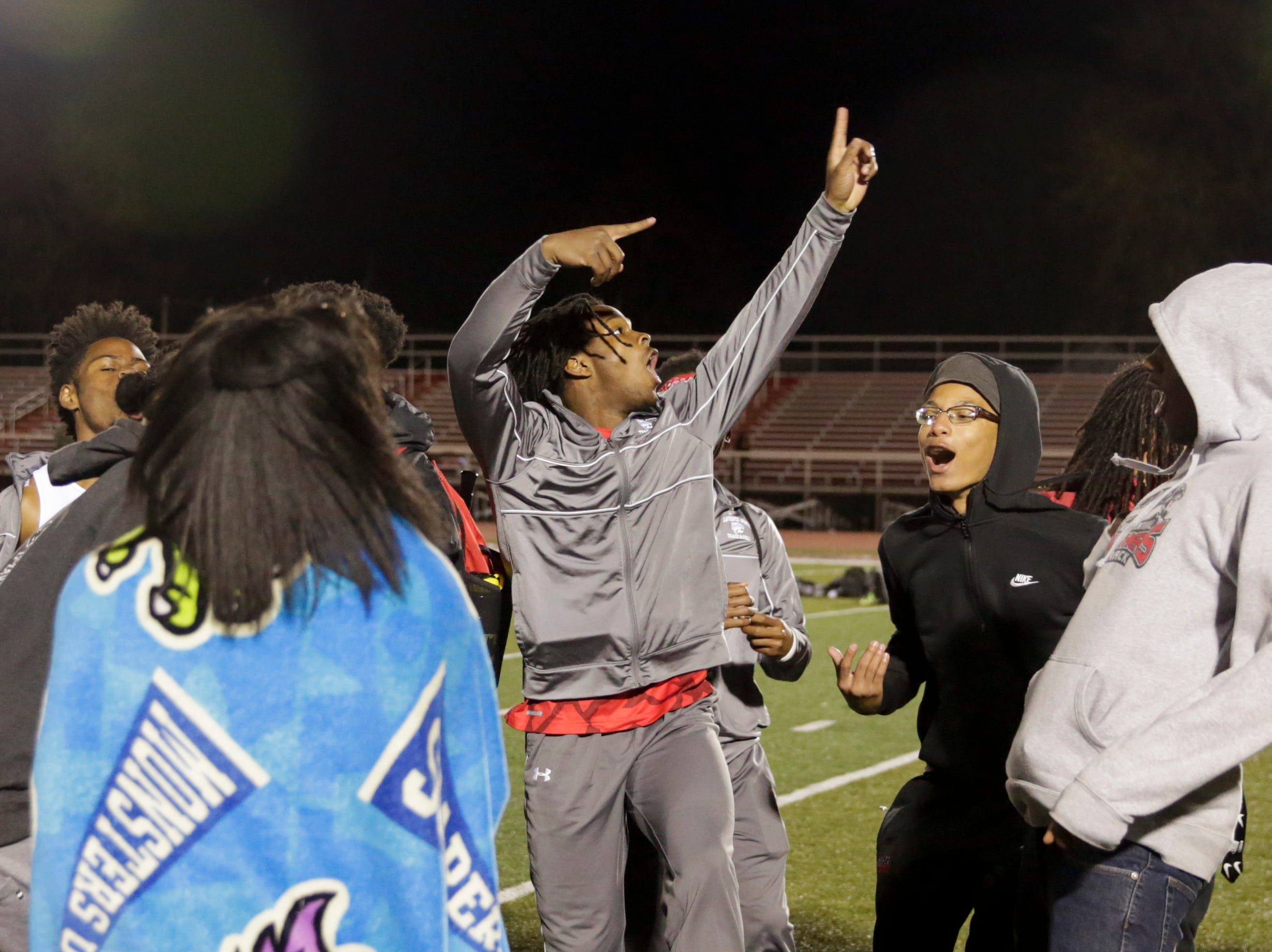 Competitors dance after the last heat of the 2019 Sprinters Showcase, Friday, April 12, 2019, at Lafayette Jeff High School in Lafayette.
