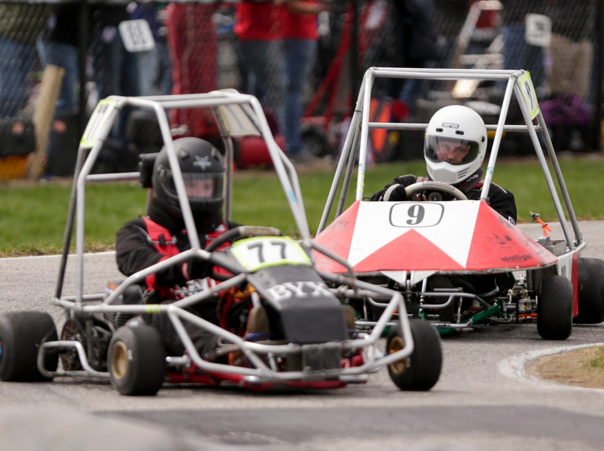 Sigma Chi Racing driver Scott Nettrour (9) comes up behing Beta Upsilon Chi Racing driver Neal Snapp (77) during the 62nd Grand Prix, Saturday, April 13, 2019, in West Lafayette.