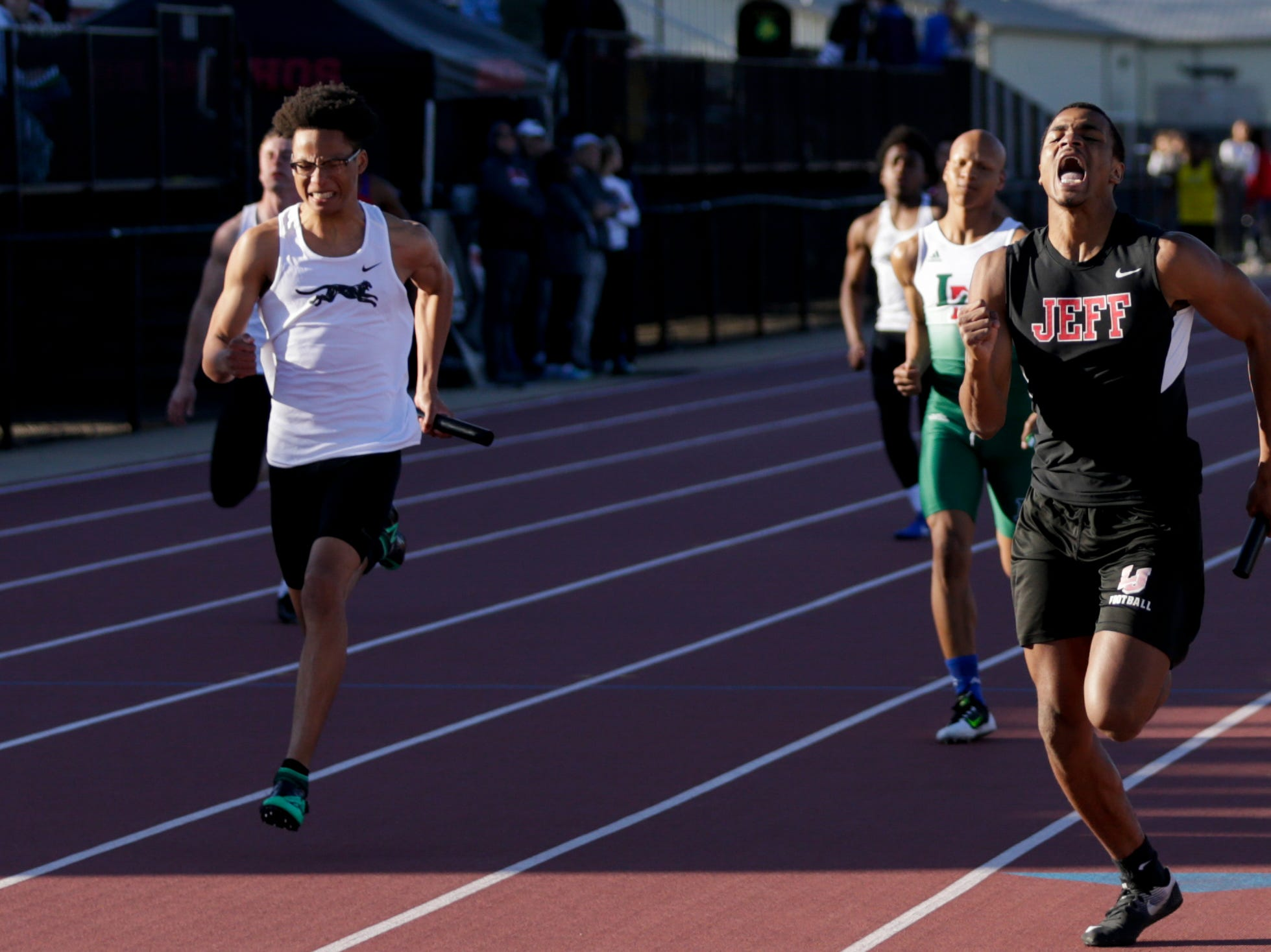 Lafayette Jeff's Derick Matthews competes in the men's 4x100 meter relay during the 2019 Sprinters Showcase, Friday, April 12, 2019, at Lafayette Jeff High School in Lafayette.