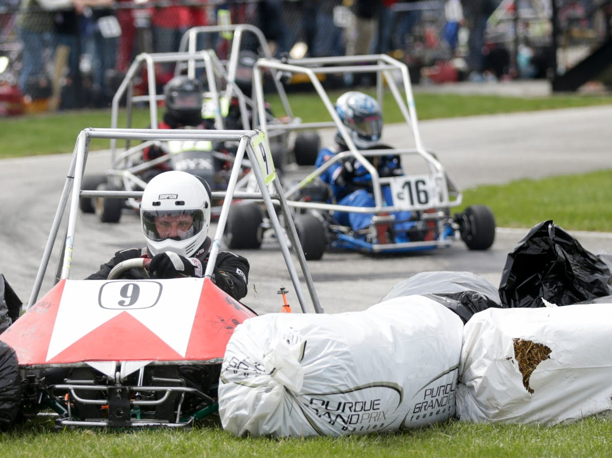 Sigma Chi Racing driver Scott Nettrour (9) plows through the hay bails during the 62nd Grand Prix, Saturday, April 13, 2019, in West Lafayette.