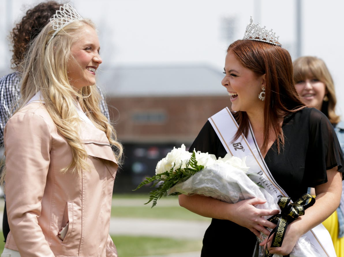 Marin Parker, right, reacts after being crowned Miss Purdue Grand Prix 2019 during the 62nd Grand Prix, Saturday, April 13, 2019, in West Lafayette.