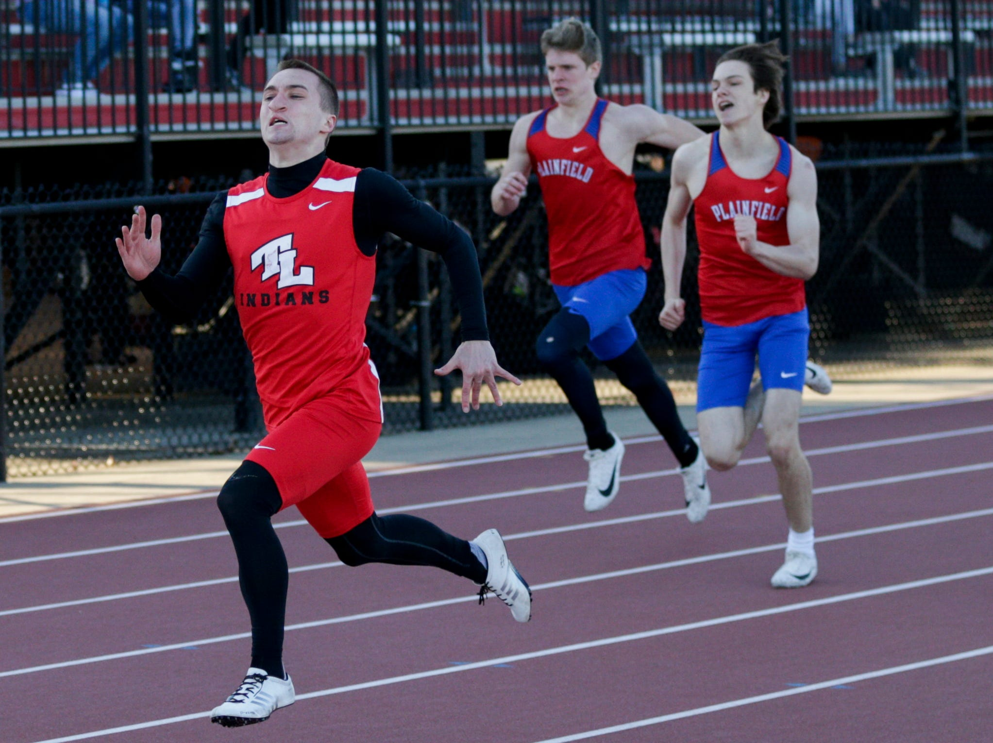 Twin Lakes' Joe Valentine competes in the men's 200 meter dash during the 2019 Sprinters Showcase, Friday, April 12, 2019, at Lafayette Jeff High School in Lafayette.