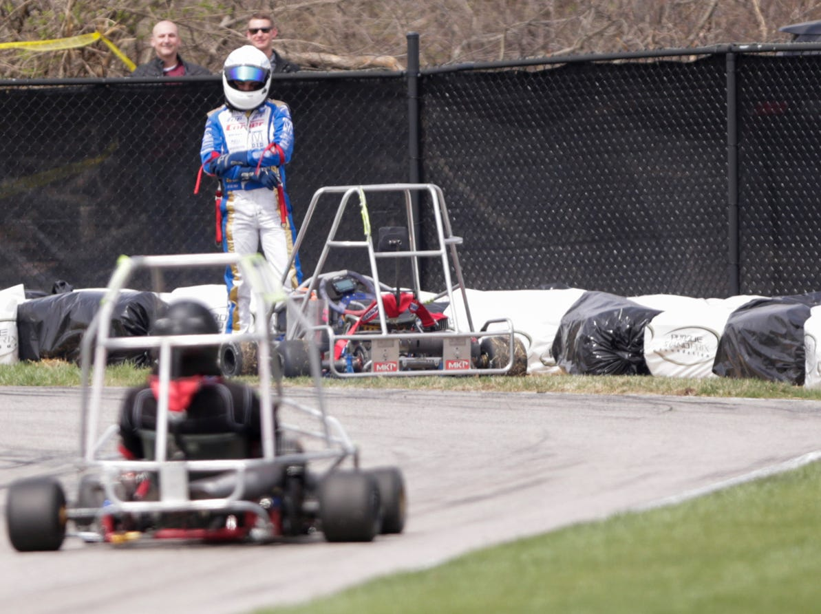 Acacia Racing driver Alexander Kardashian (59) waits for assistance after colliding with hay bails during the 62nd Grand Prix, Saturday, April 13, 2019, in West Lafayette.