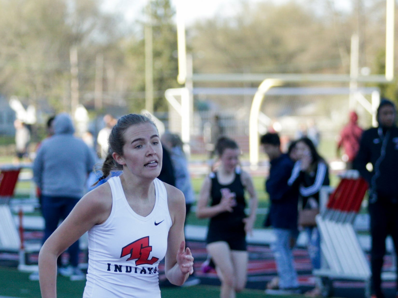 Twin Lake's Sarah Ryan competes in the women's 200 meter dash during the 2019 Sprinters Showcase, Friday, April 12, 2019, at Lafayette Jeff High School in Lafayette.