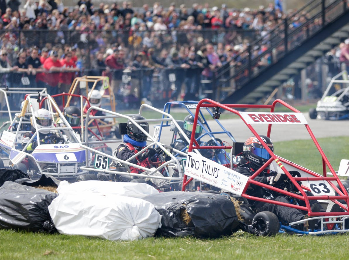 Gemini Pines driver Cassten Everidge (63) collides with a hay bail during the 62nd Grand Prix, Saturday, April 13, 2019, in West Lafayette.