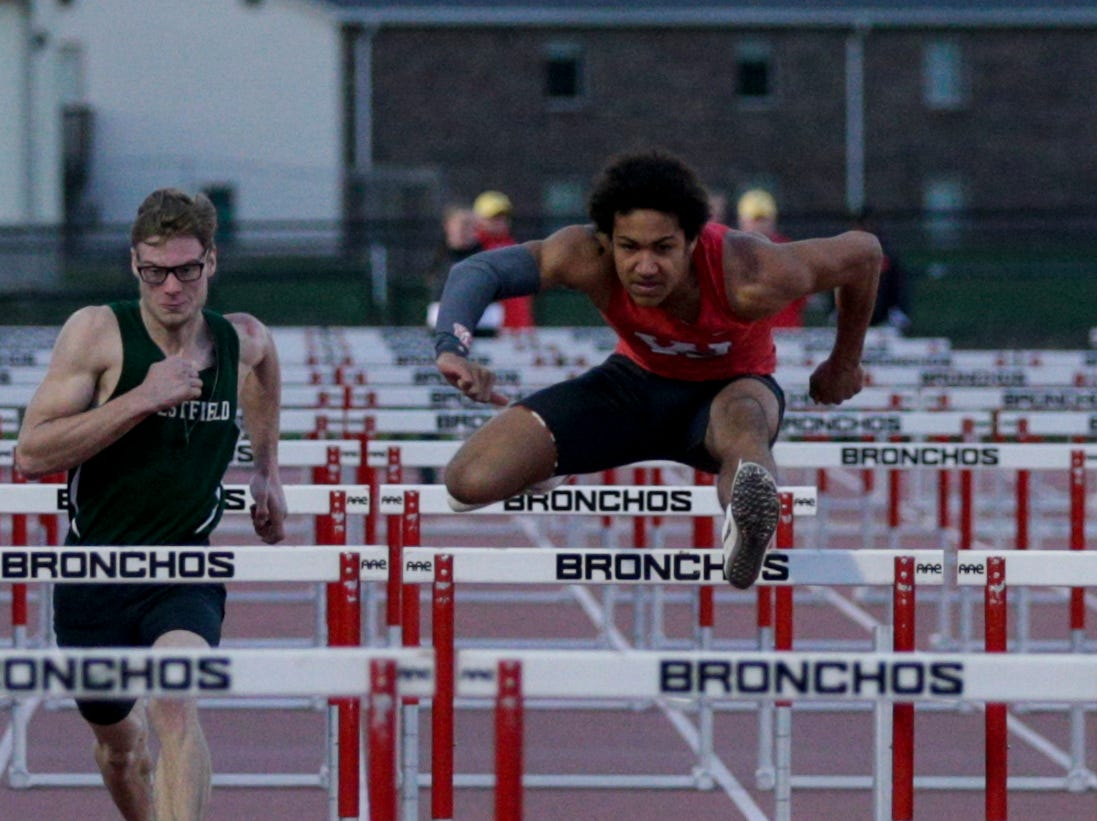 Western Lafayette's Kyle Hazel competes in the men's 110 meter hurdles during the 2019 Sprinters Showcase, Friday, April 12, 2019, at Lafayette Jeff High School in Lafayette.