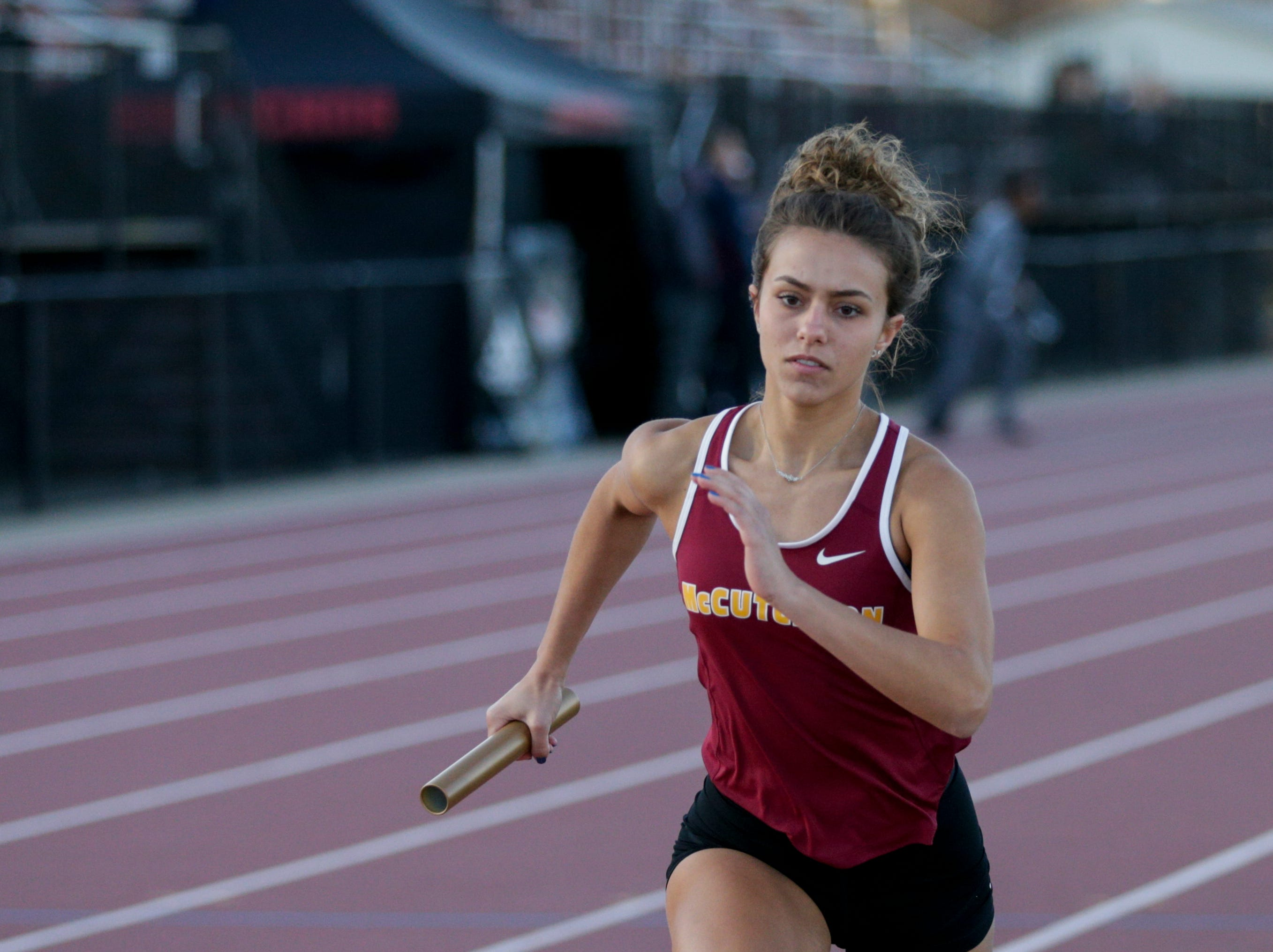 McCutcheon competes in the women's 4x400 meter relay during the 2019 Sprinters Showcase, Friday, April 12, 2019, at Lafayette Jeff High School in Lafayette.