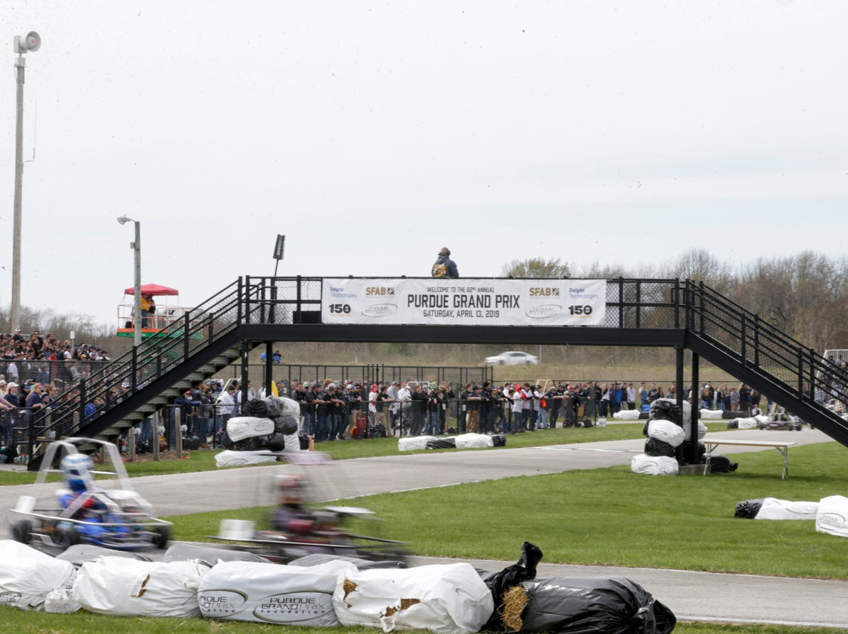 Drivers complete a lap during the 62nd Grand Prix, Saturday, April 13, 2019, in West Lafayette.