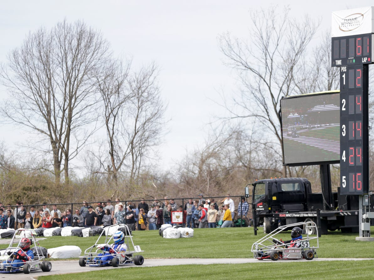 Drivers complete lap 61 of 160 during the 62nd Grand Prix, Saturday, April 13, 2019, in West Lafayette.