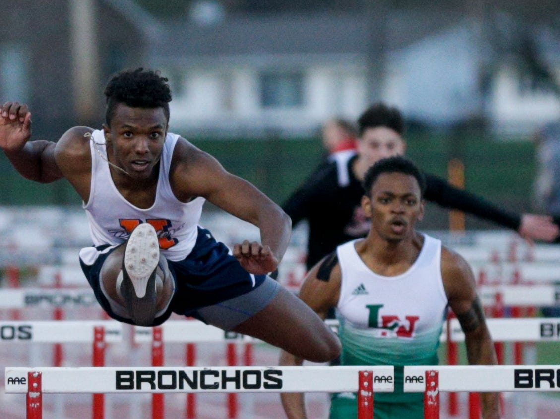 Harrison's Zion King competes in the men's 110 meter hurdles during the 2019 Sprinters Showcase, Friday, April 12, 2019, at Lafayette Jeff High School in Lafayette.