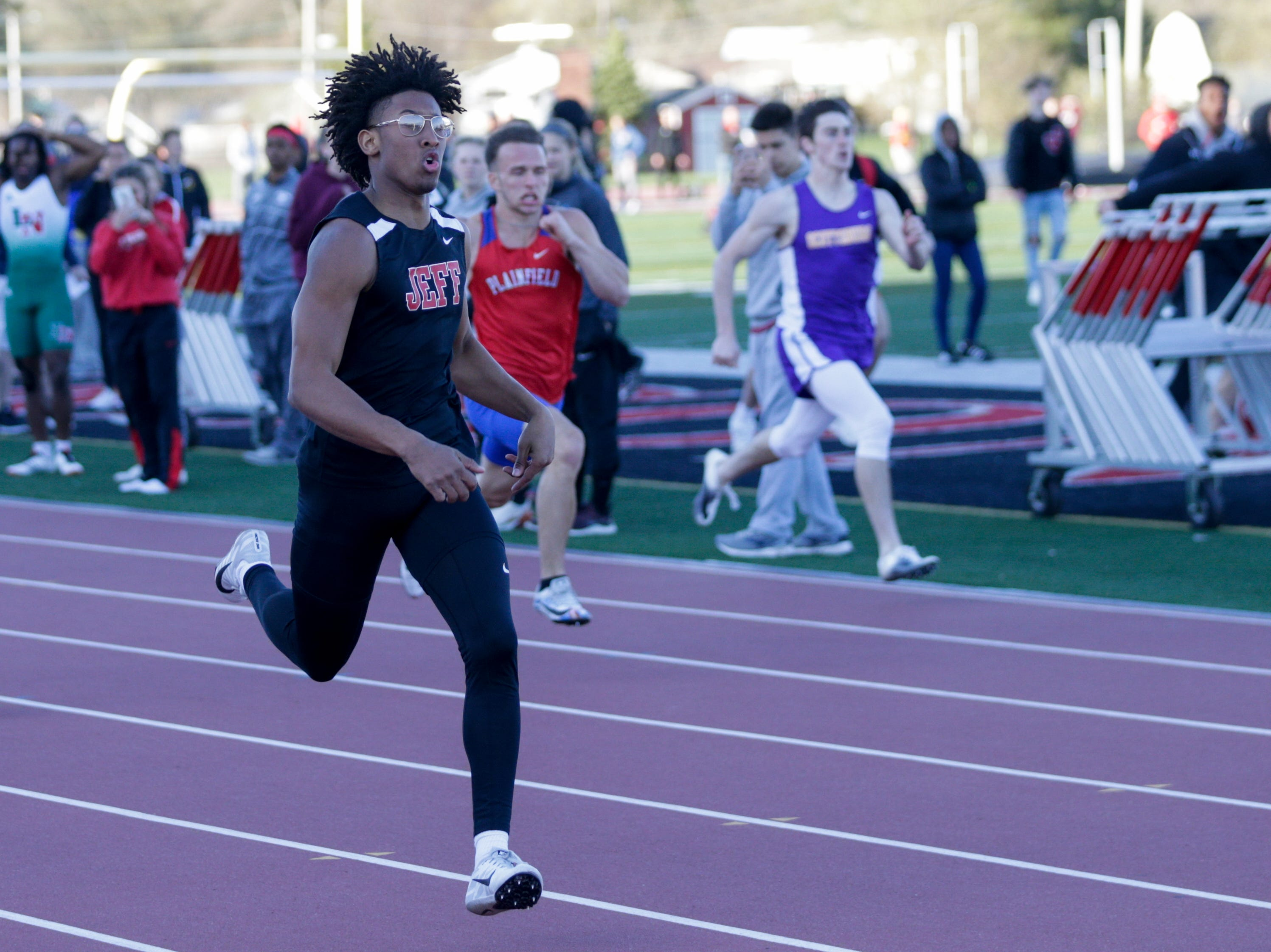 Lafayette Jeff's Thomas Hogan competes in the men's 200 meter dash during the 2019 Sprinters Showcase, Friday, April 12, 2019, at Lafayette Jeff High School in Lafayette.