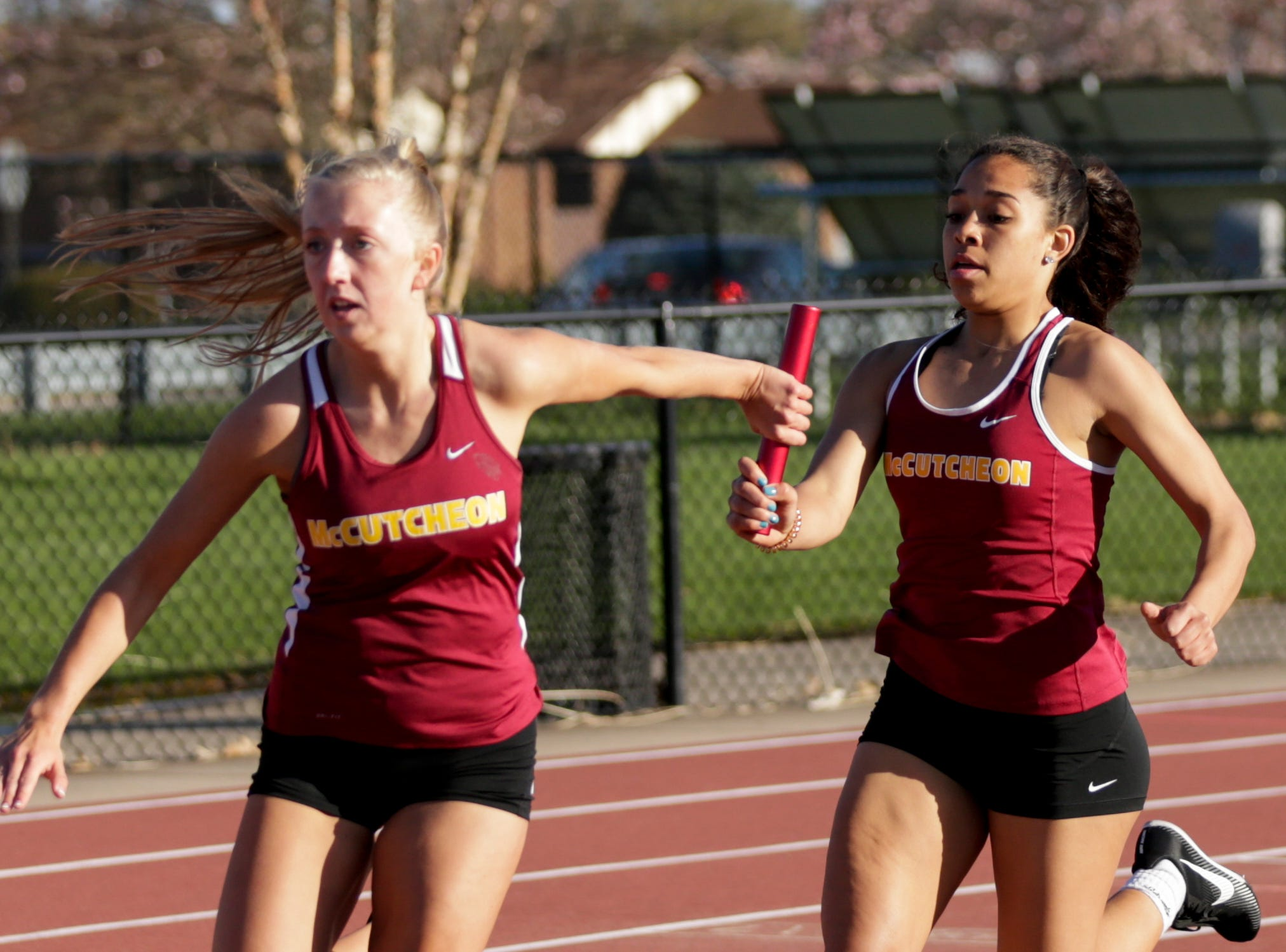 McCutcheon runners compete in the women's 4x100 meter relay during the 2019 Sprinters Showcase, Friday, April 12, 2019, at Lafayette Jeff High School in Lafayette.