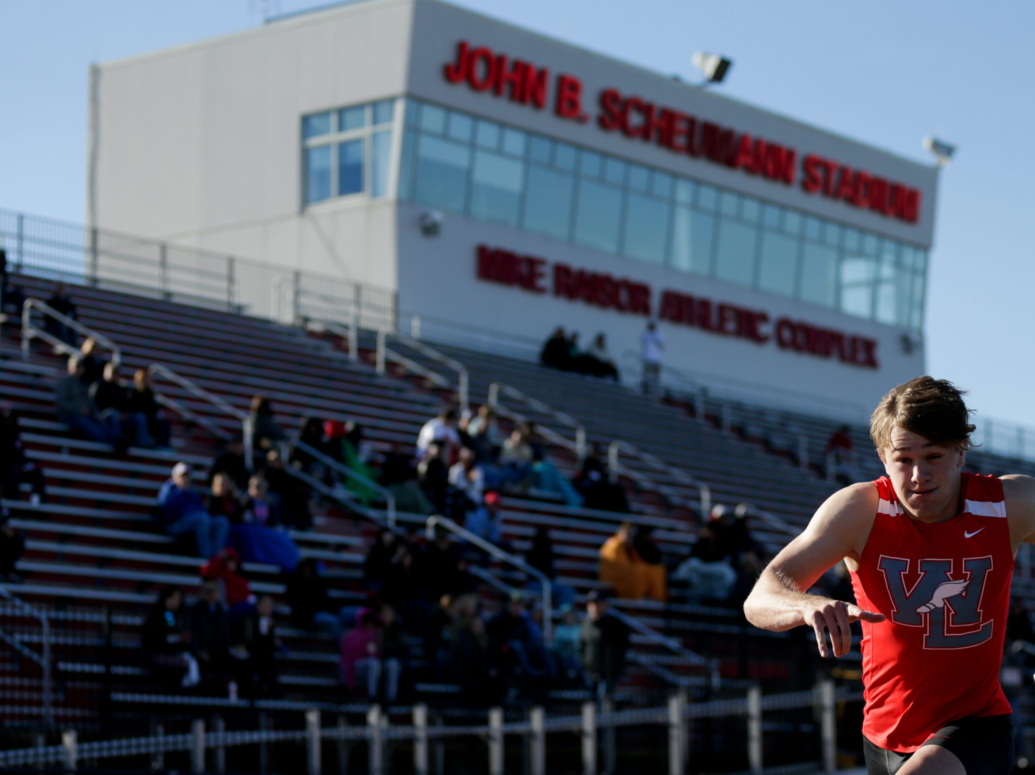 West Lafayette's Noah Stenberg competes in the men's 400 meter dash during the 2019 Sprinters Showcase, Friday, April 12, 2019, at Lafayette Jeff High School in Lafayette.